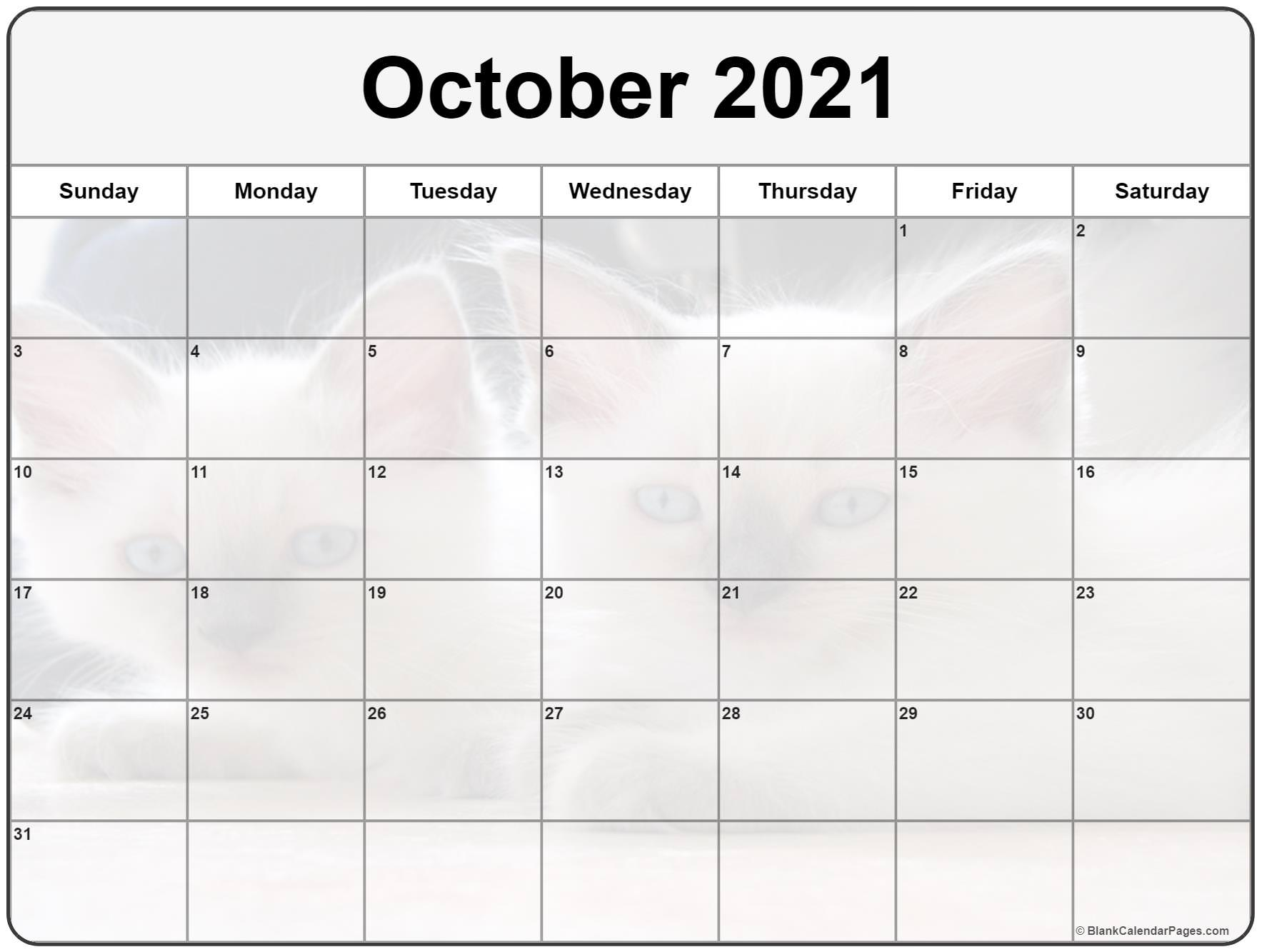 October 2021 printable calendar with cute cat filters