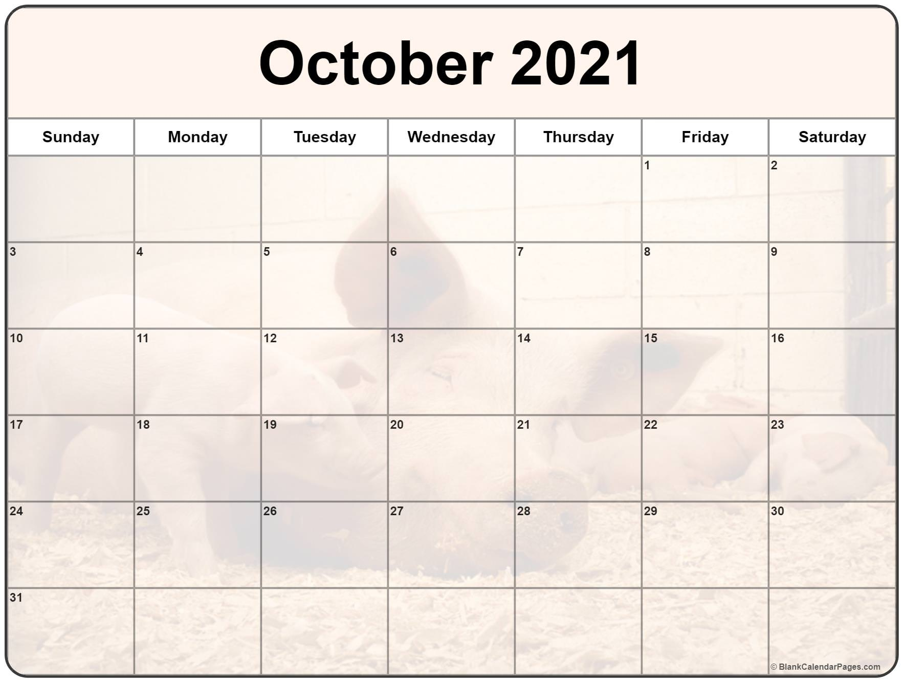 October 2021 printable calendar with cute piglet filters
