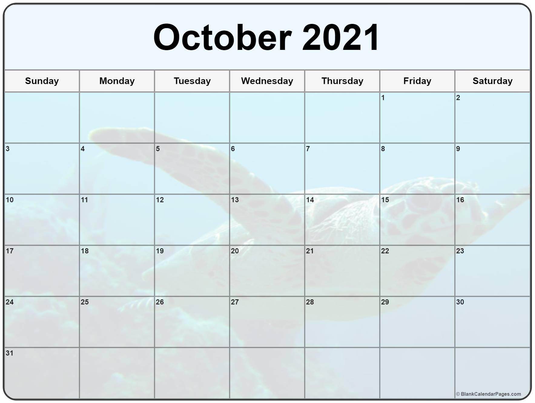 October 2021 printable calendar  with cute turtle filters