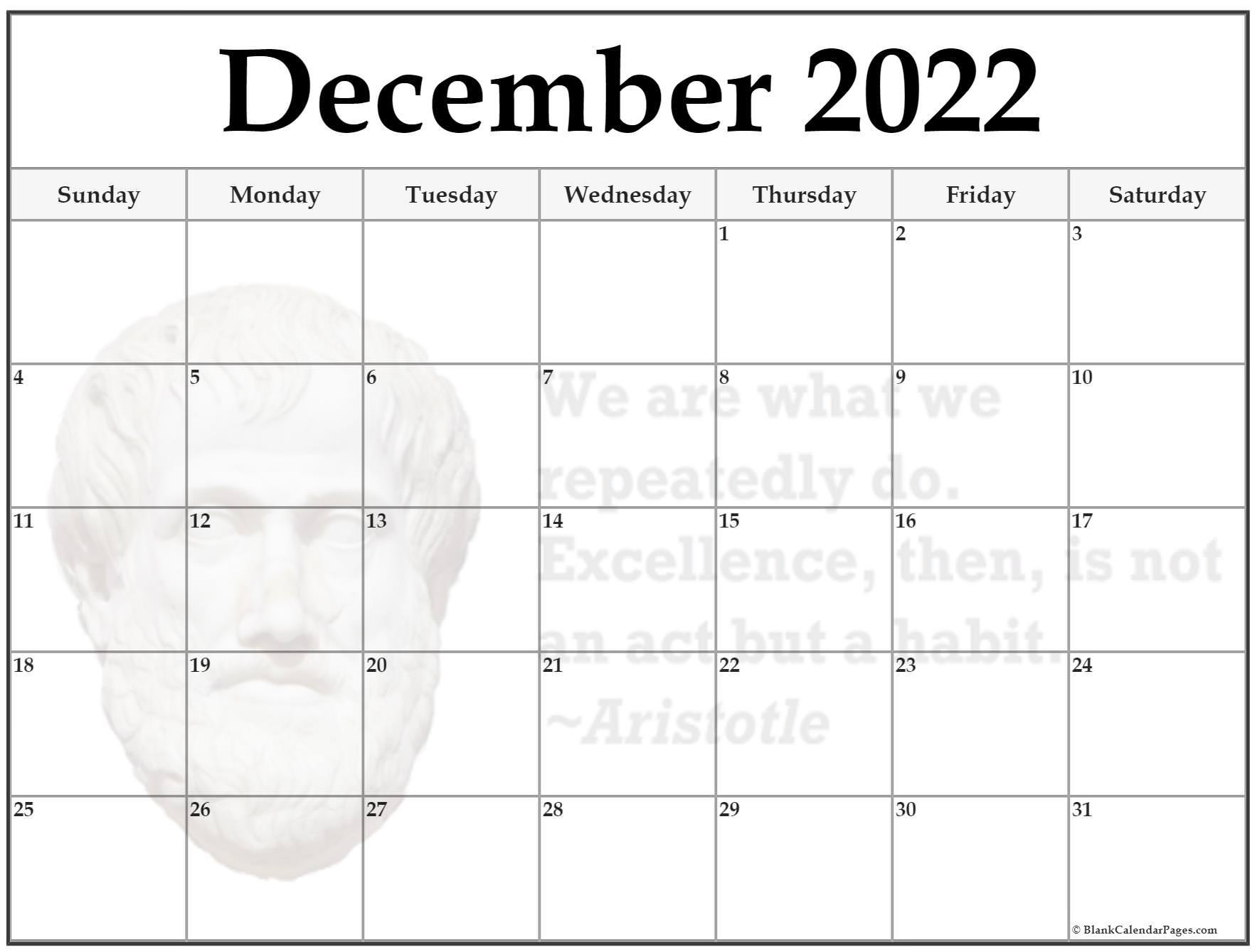 December 2022 Aristotle quote calendar