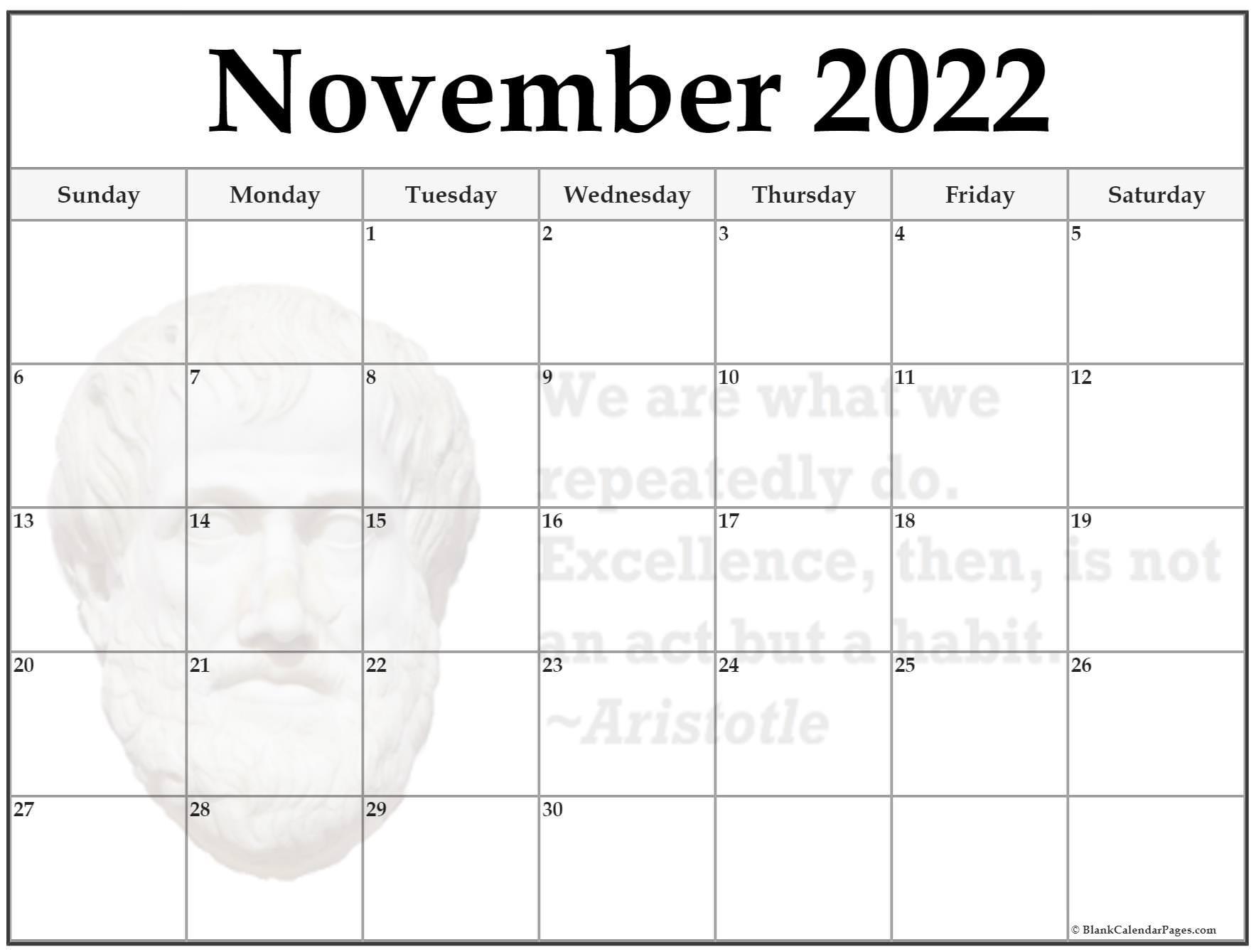 November 2022 Aristotle quote calendar