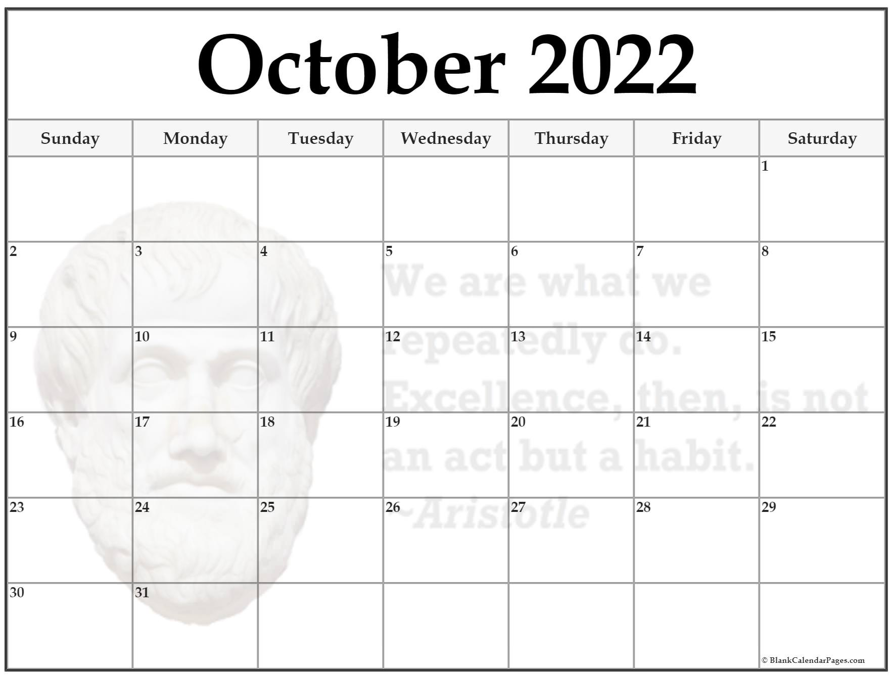 October 2022 Aristotle quote calendar
