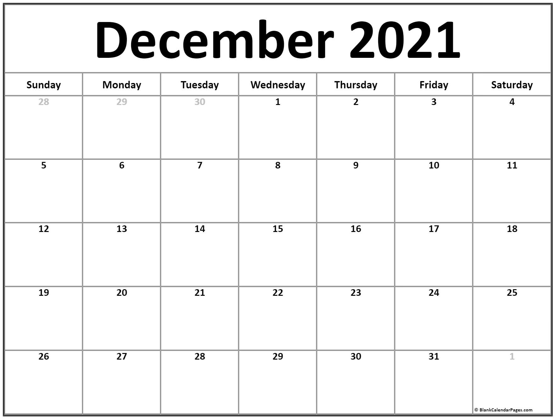 calendar 2020 December with center text.