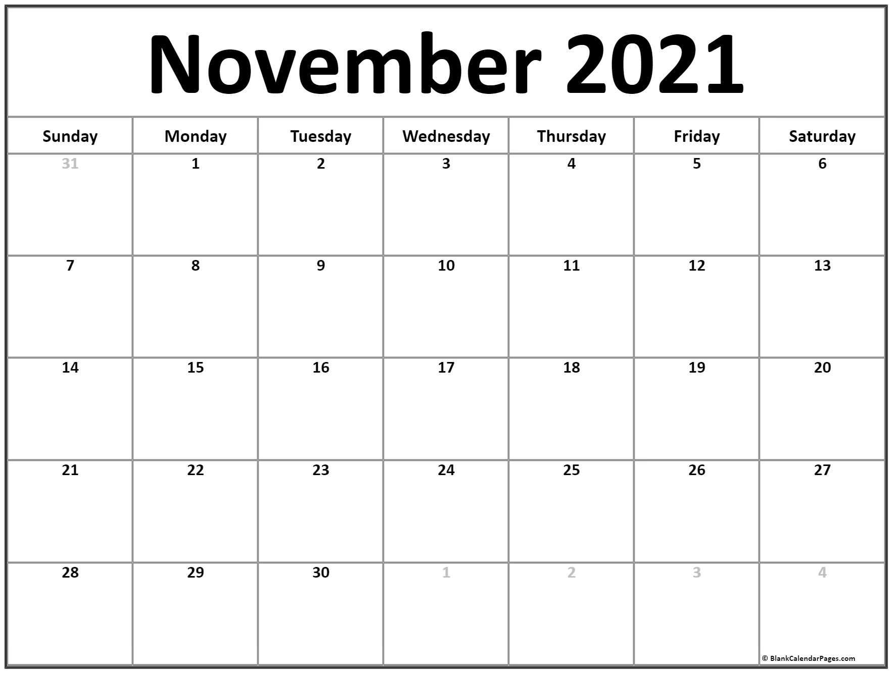 calendar 2021 November with center text.