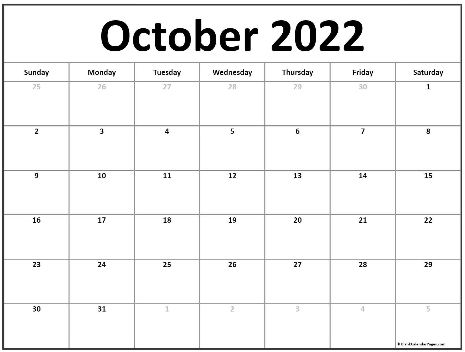 calendar 2018 October with center text.