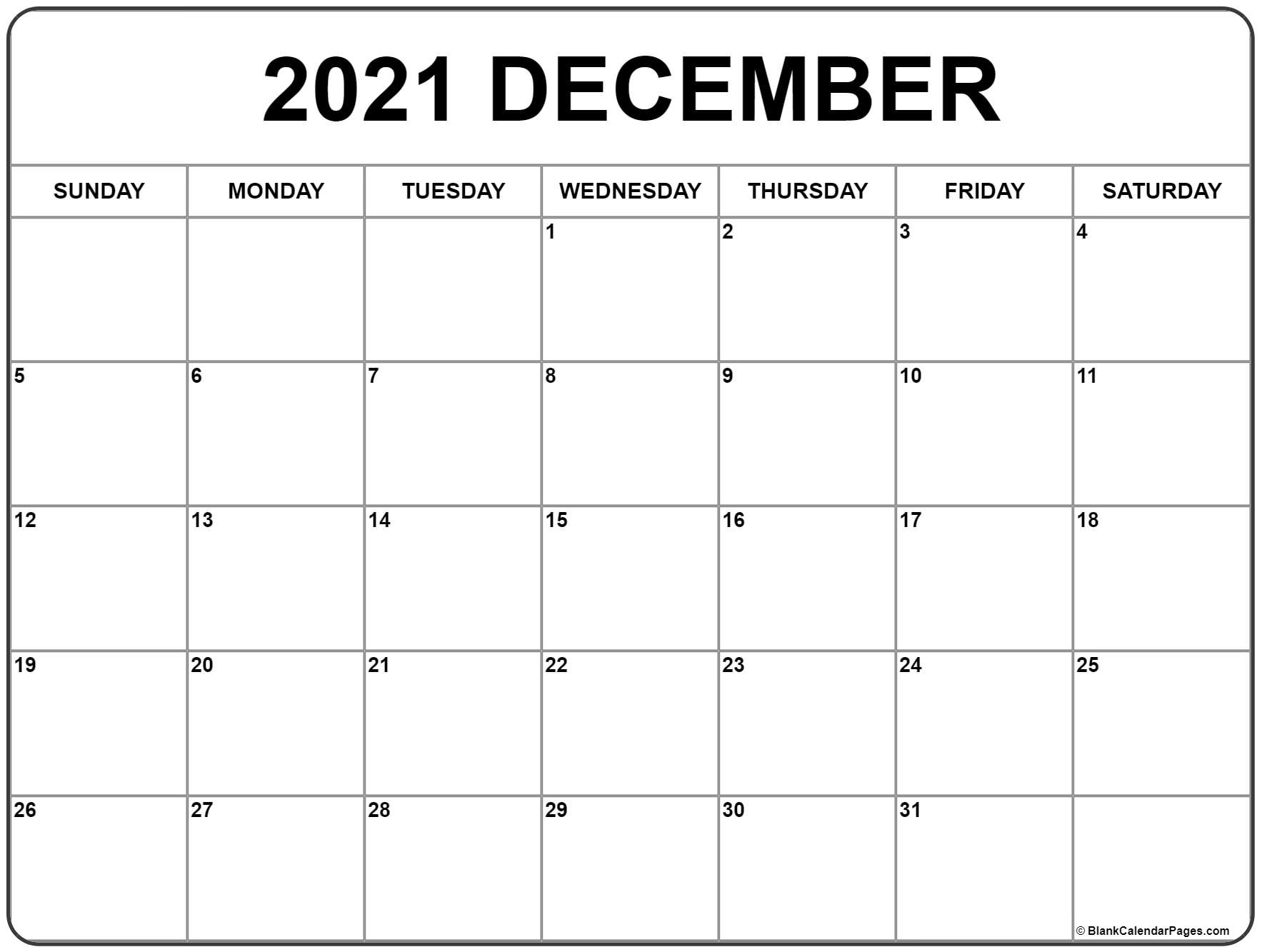 December 2021 Calendar Free Printable Monthly Calendars