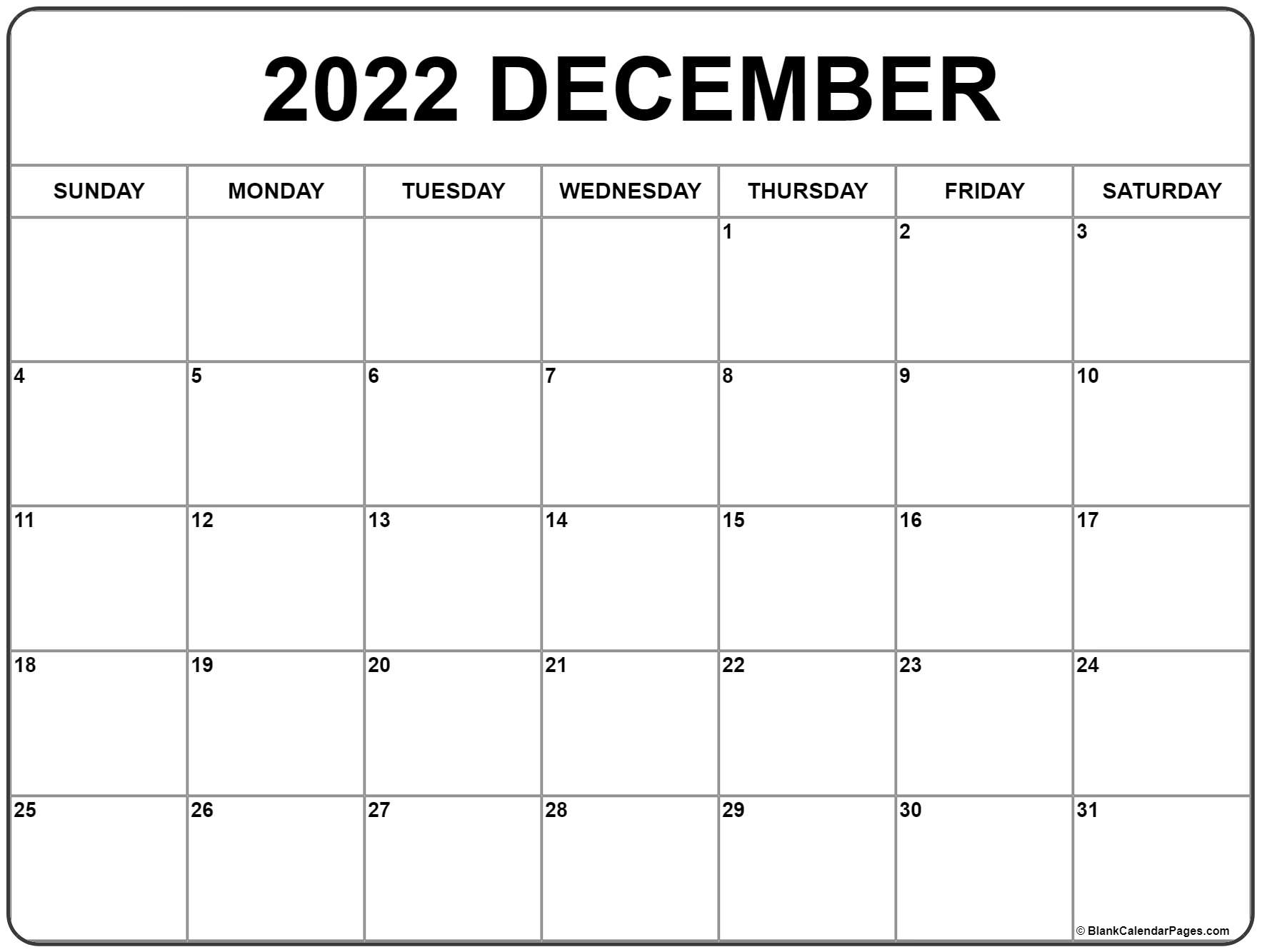 Calendar For December 2022.December 2022 Calendar Free Printable Calendar Templates