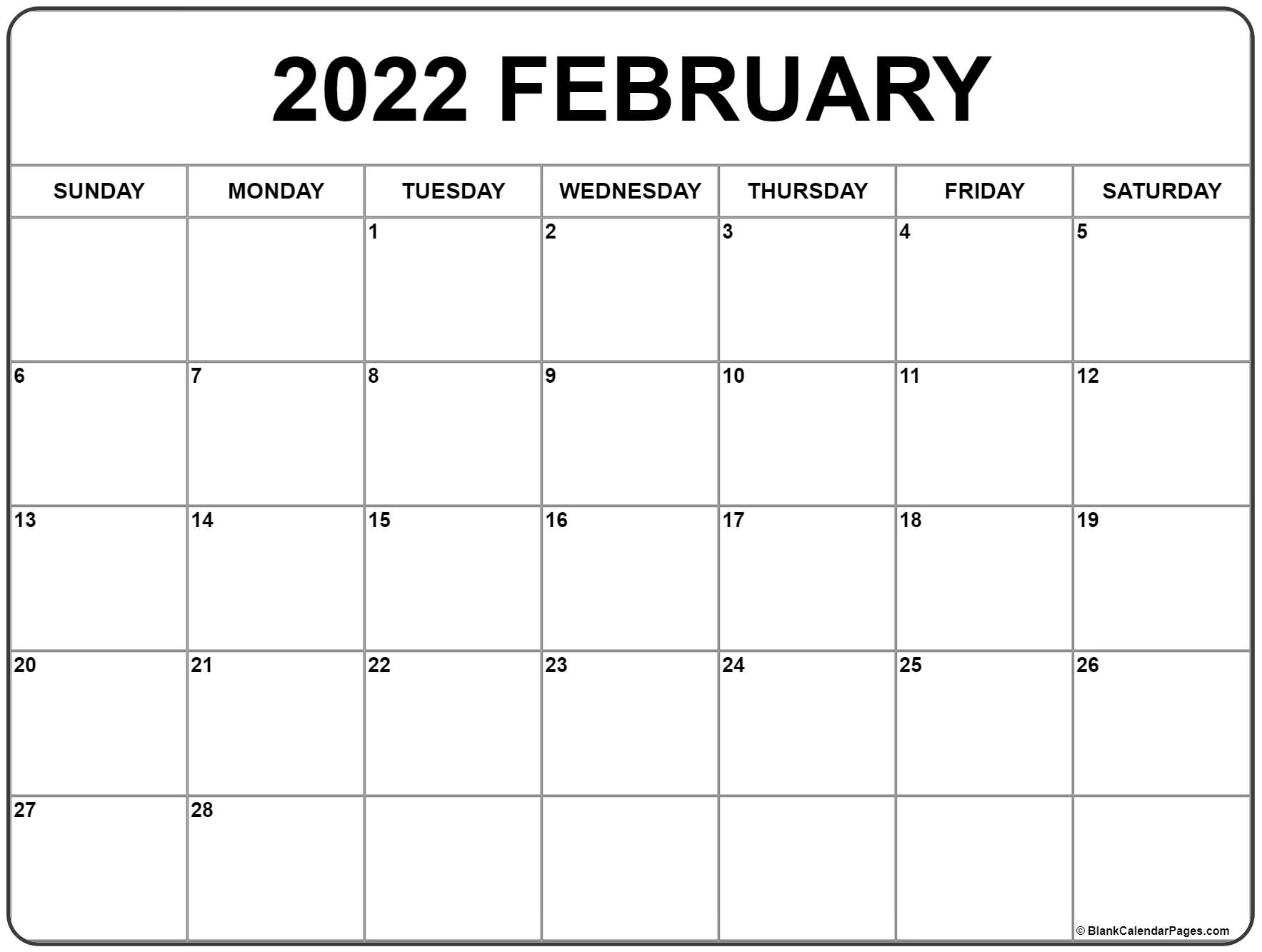 February And March 2022 Calendar