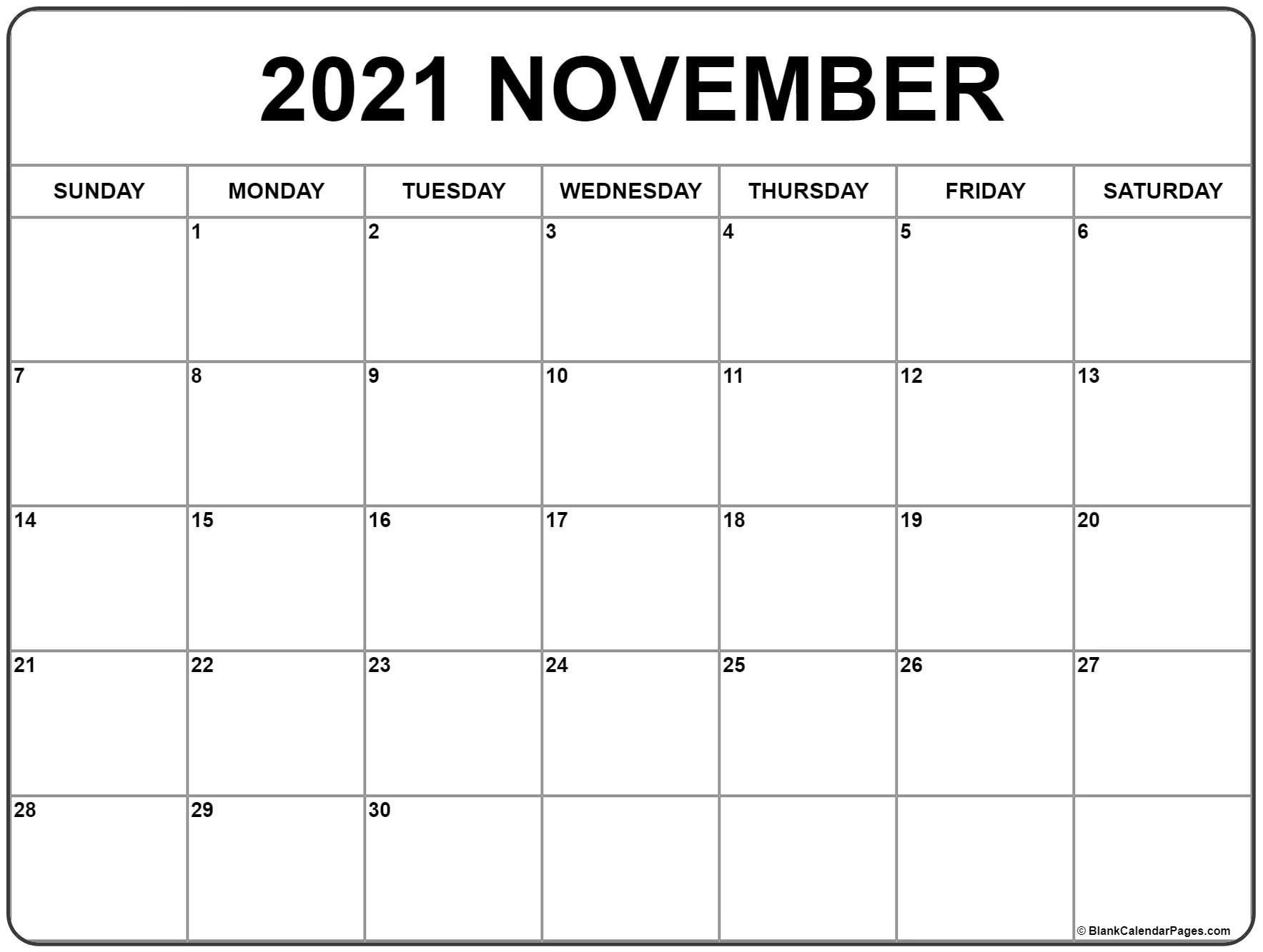 November Calendar 2021 November 2021 calendar | free printable monthly calendars