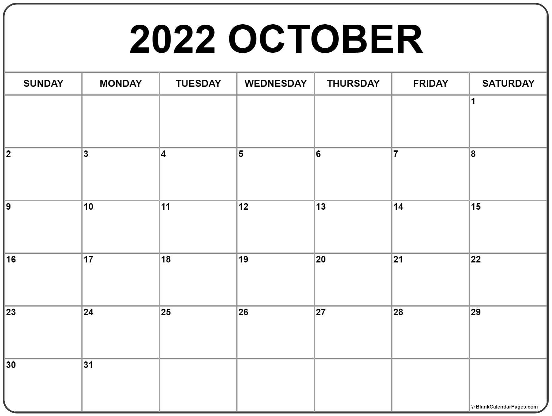 Free Printable Calendar October 2022.October 2022 Calendar Free Printable Calendar Templates