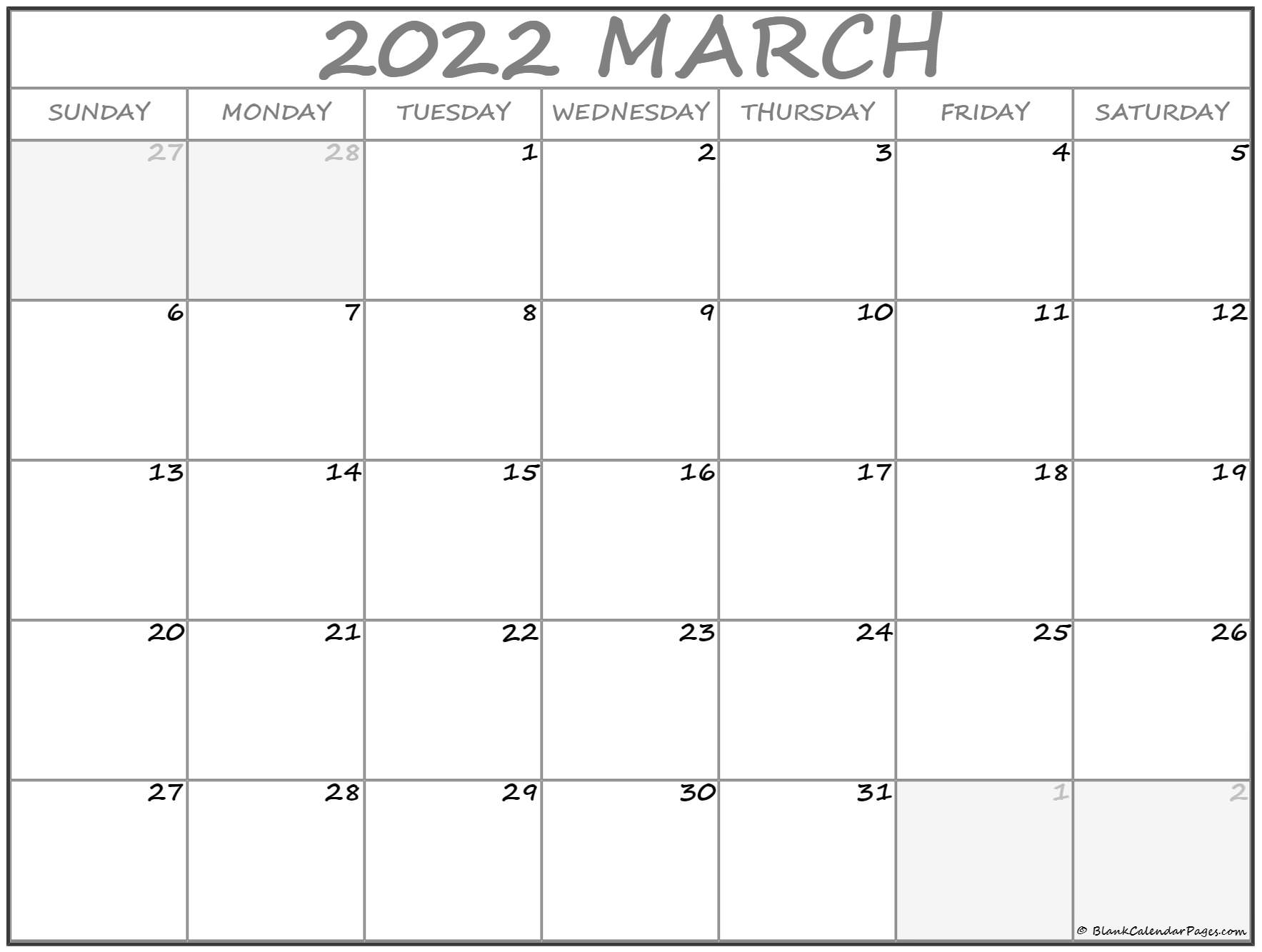 March 2022 calendar   free printable monthly calendars