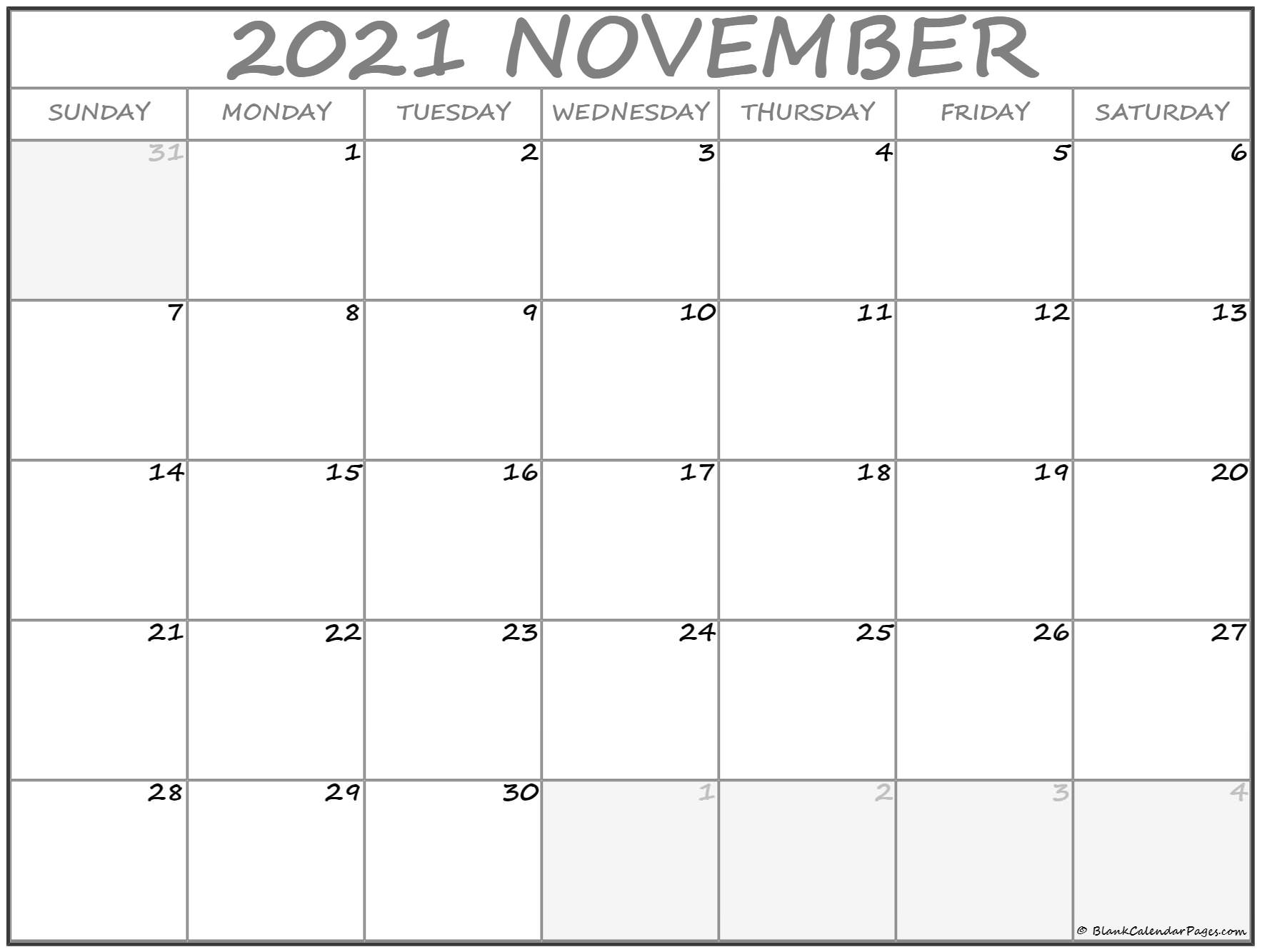 It is a picture of Priceless Free Printable Calendars Nov 2020
