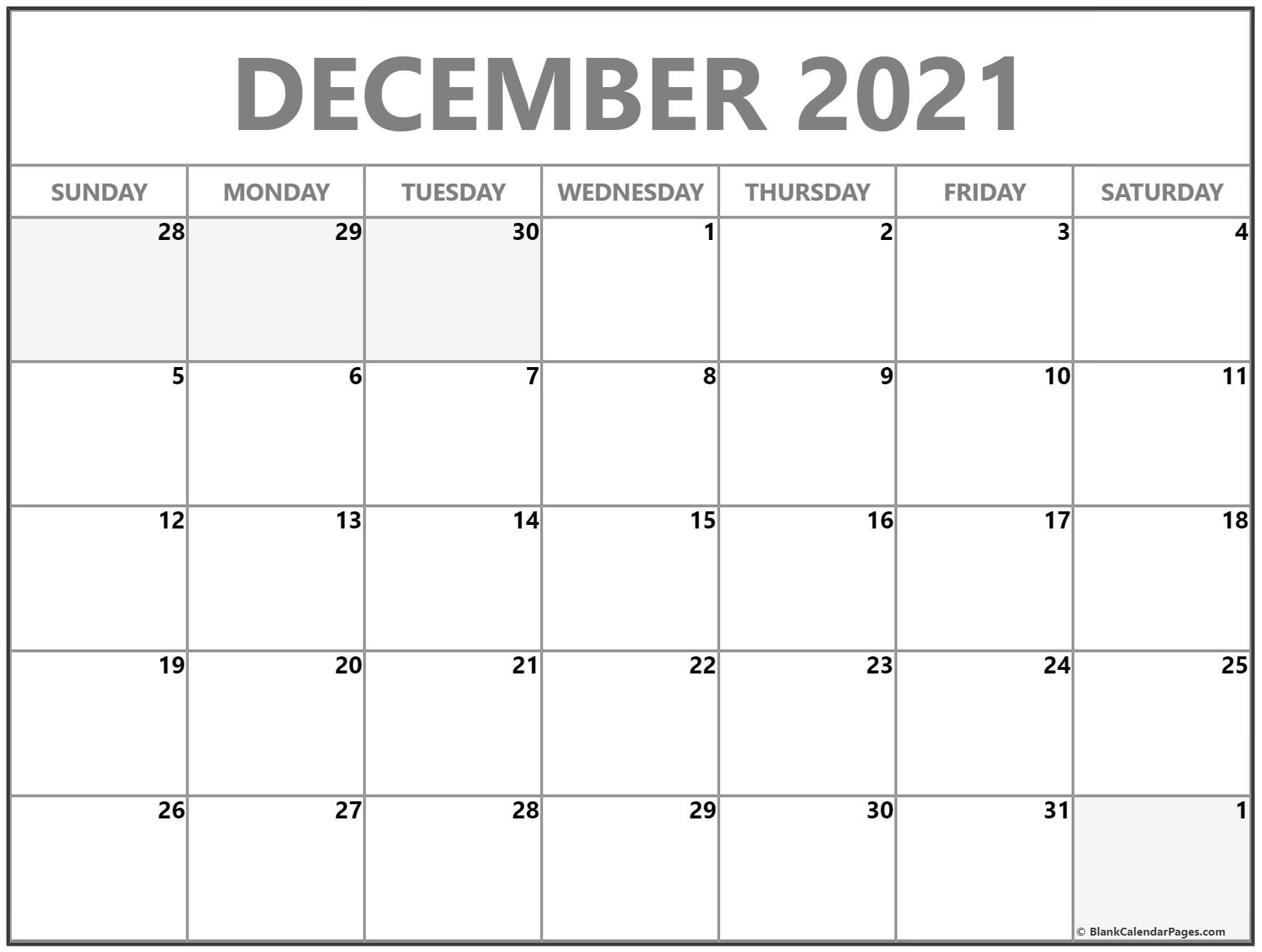 December 2021 blank monthly calendar template