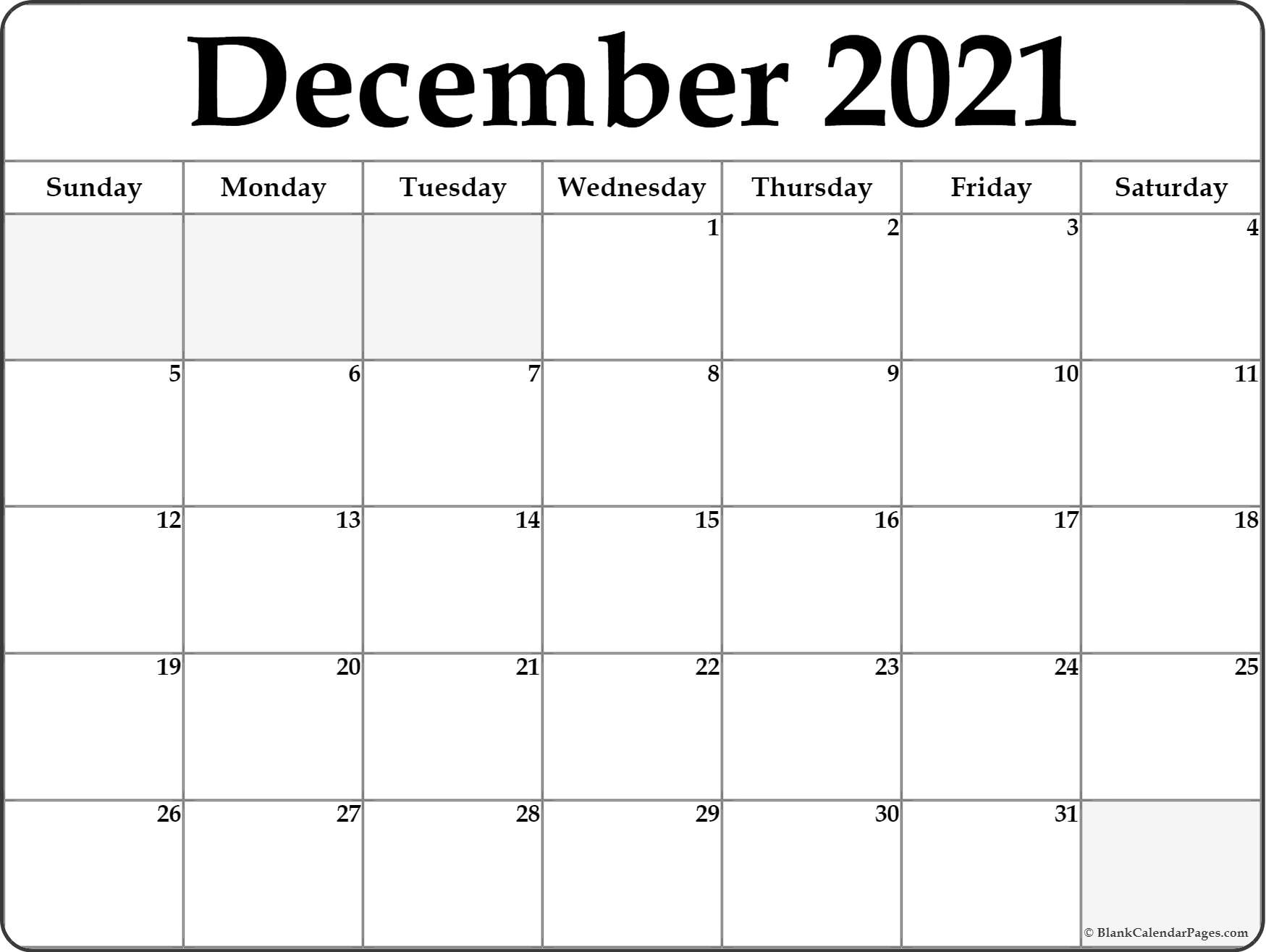December Calendar 2018 : December blank calendar printable collection
