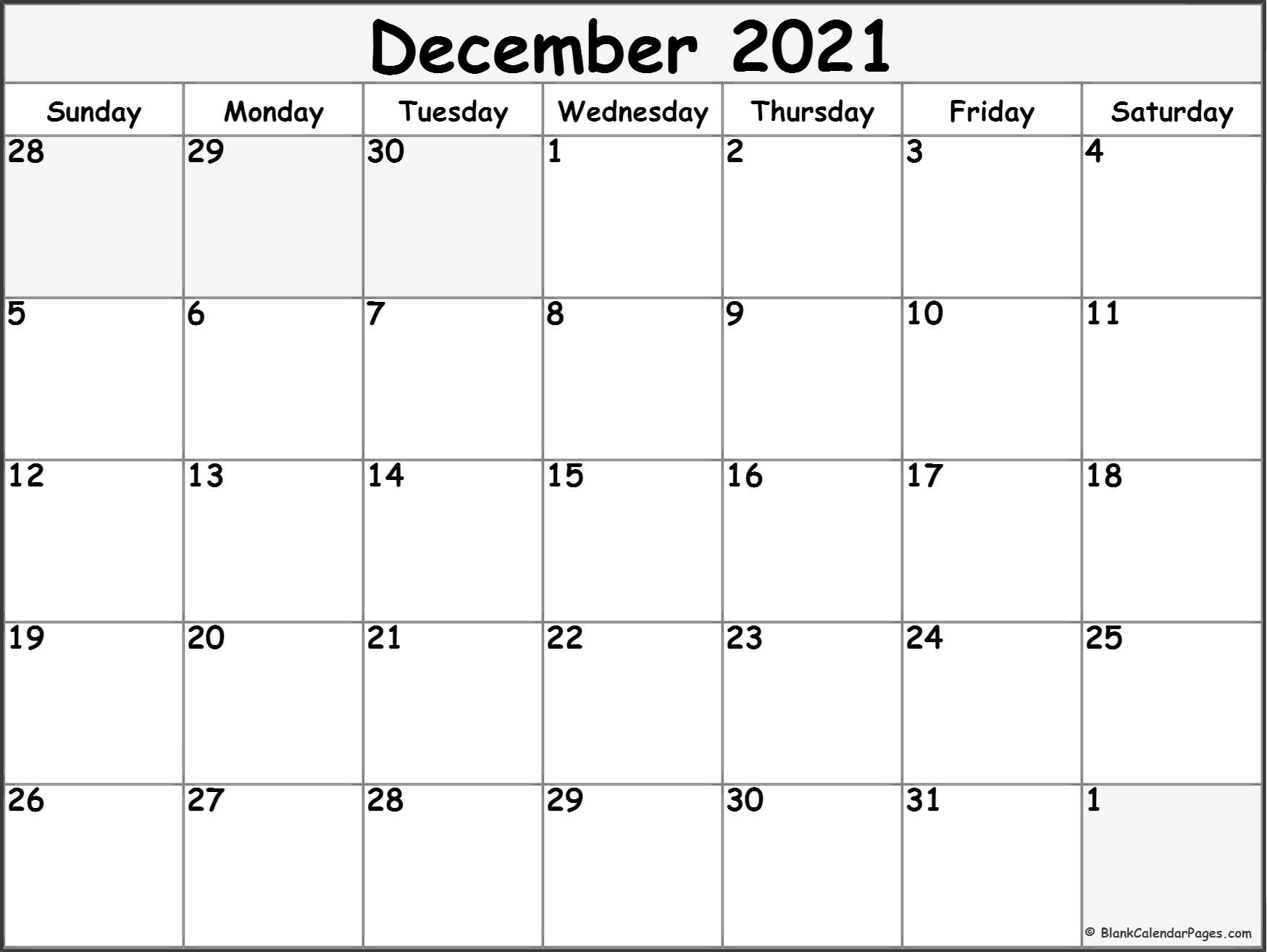 December 2020 monthly calendar template