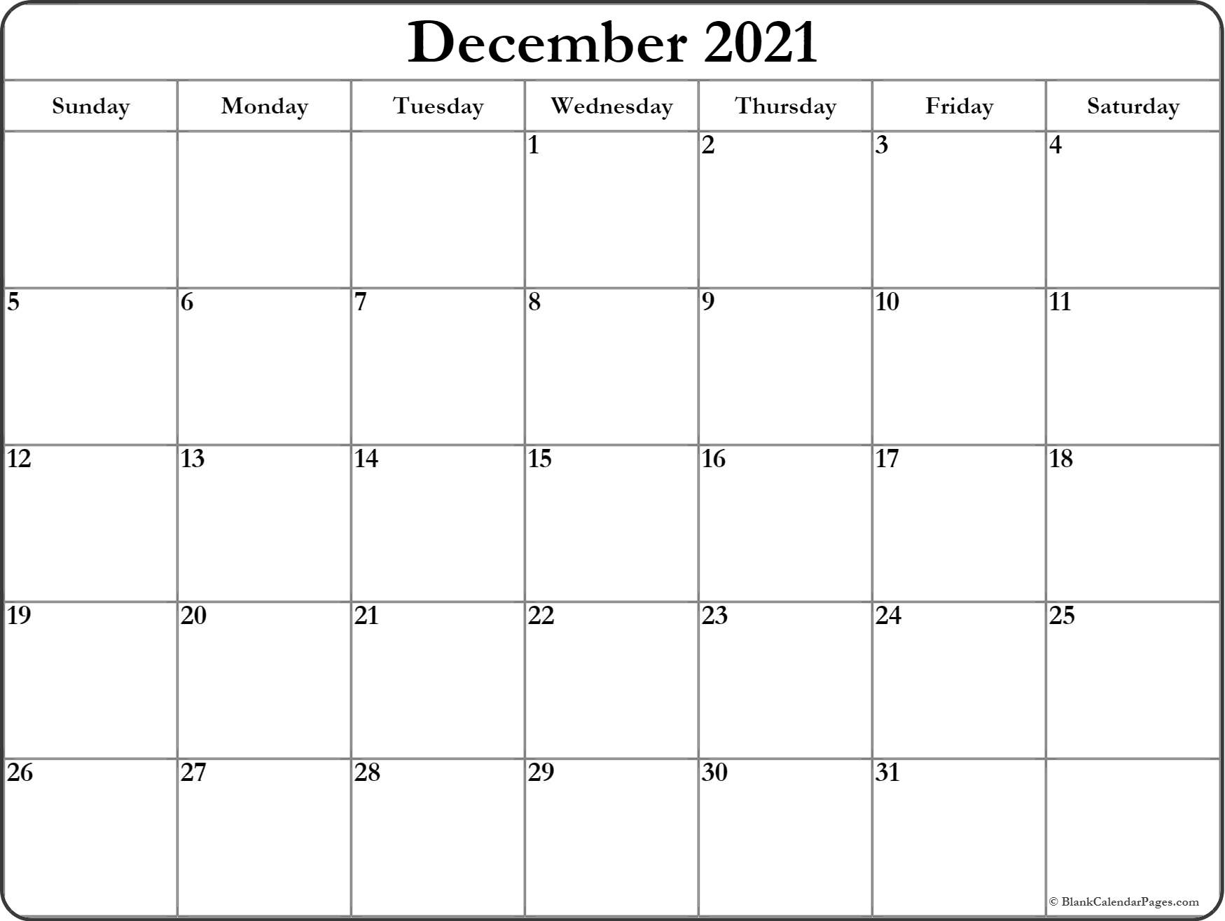 December 2019 Blank Calendar Printable Collection