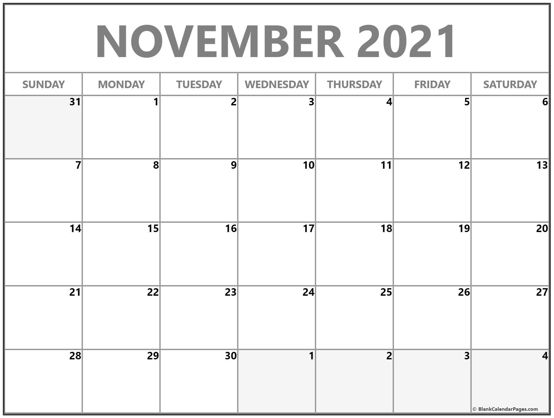 November 2021 blank monthly calendar template