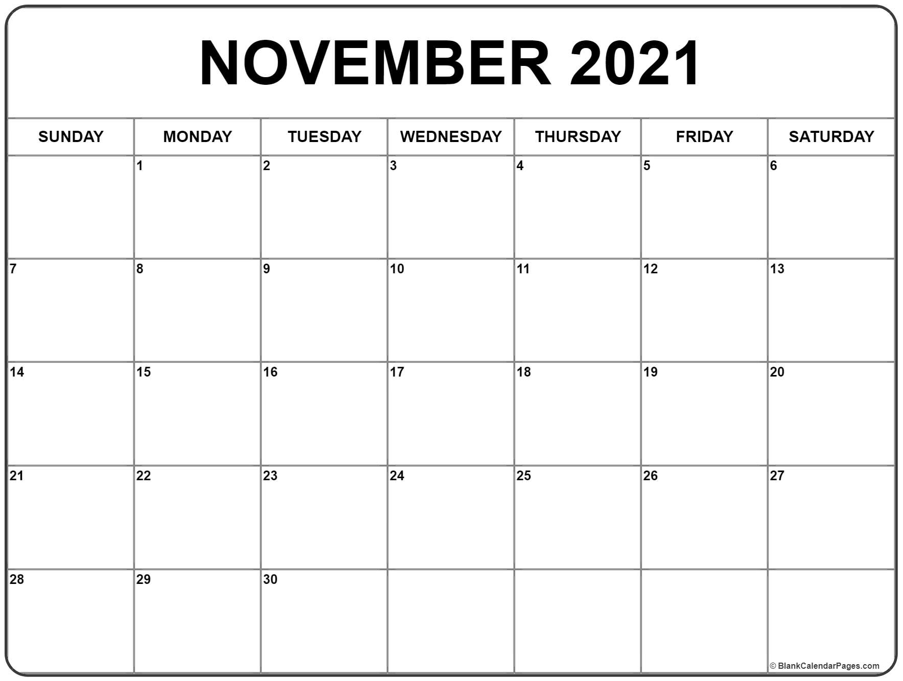 November Month Calendar 2021 Printable Photos