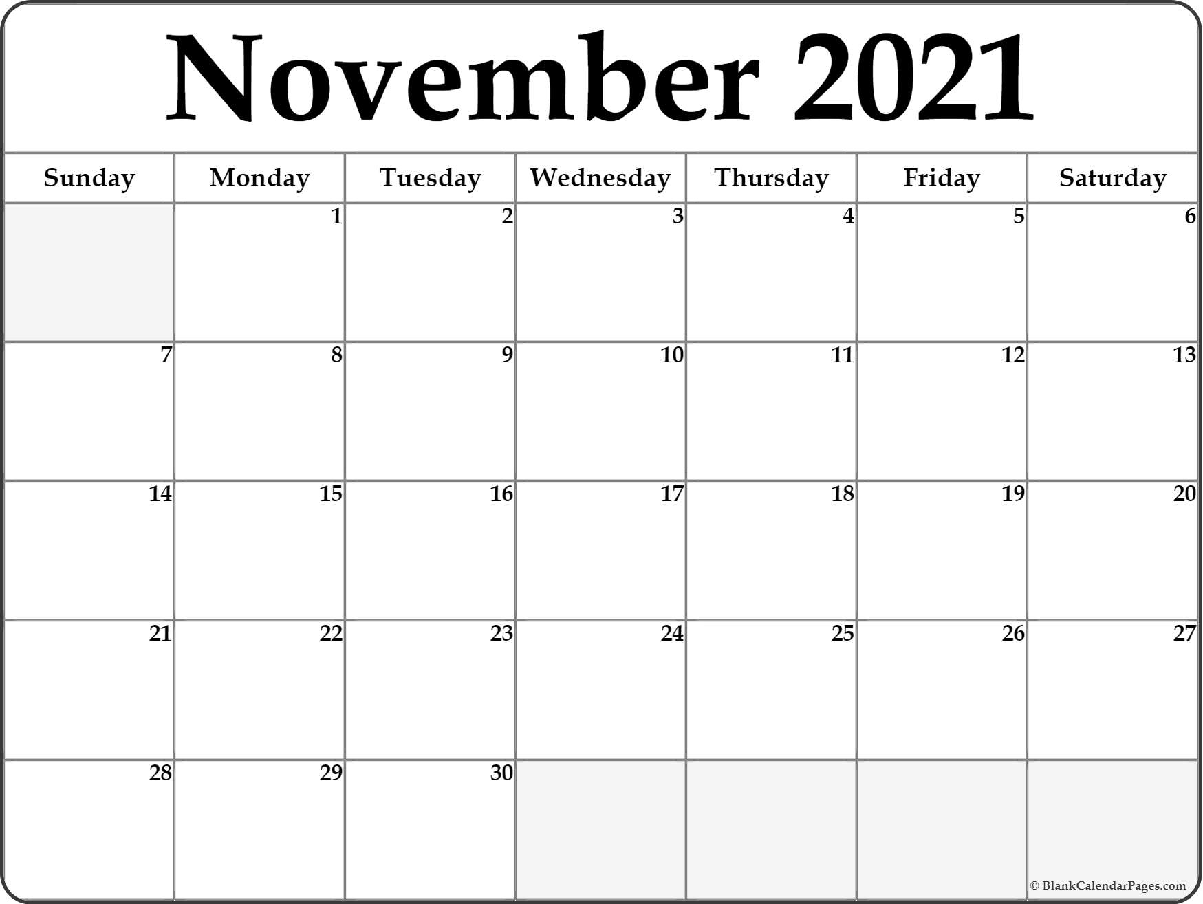 photograph relating to Free Printable Nov Calendar titled November 2020 calendar absolutely free printable every month calendars