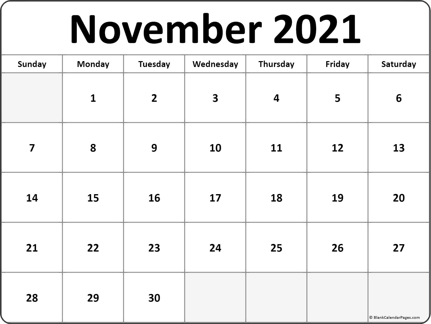 This is a picture of Sizzling Printable November 2020 Calendars