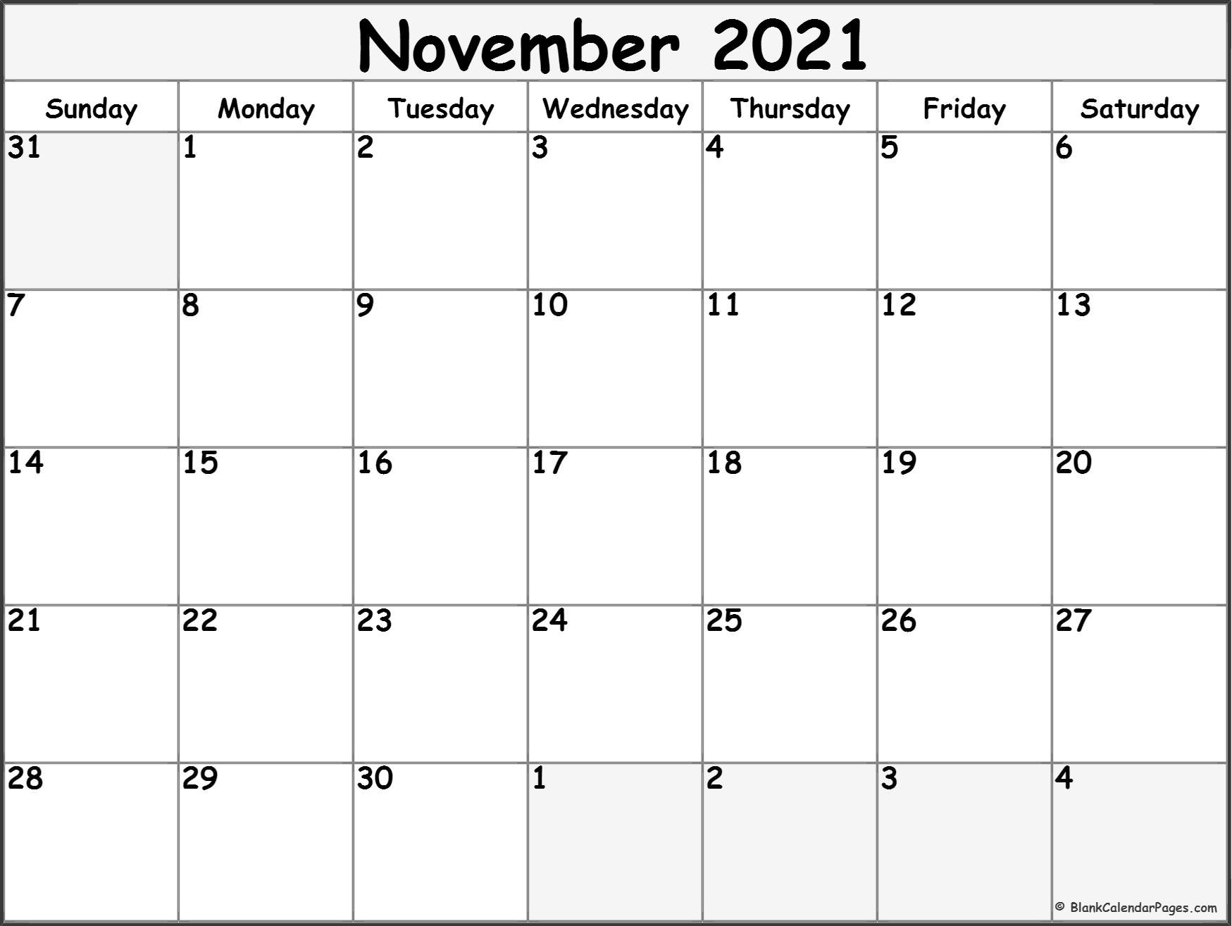 November 2018 monthly calendar template