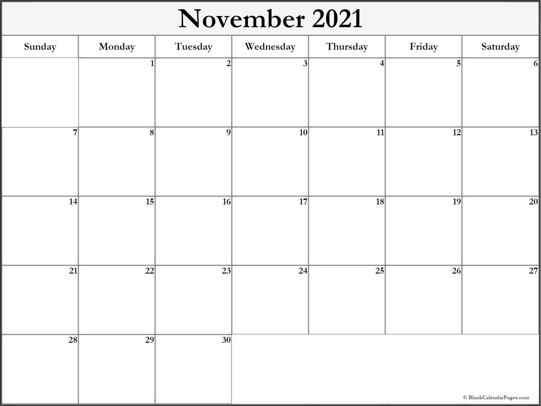 November 2021 monthly calendar printable