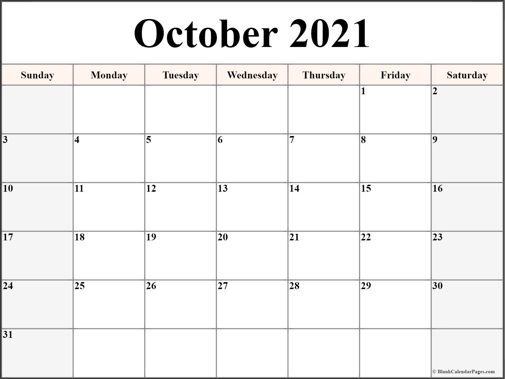 Calendar Pages October : October free printable blank calendar collection