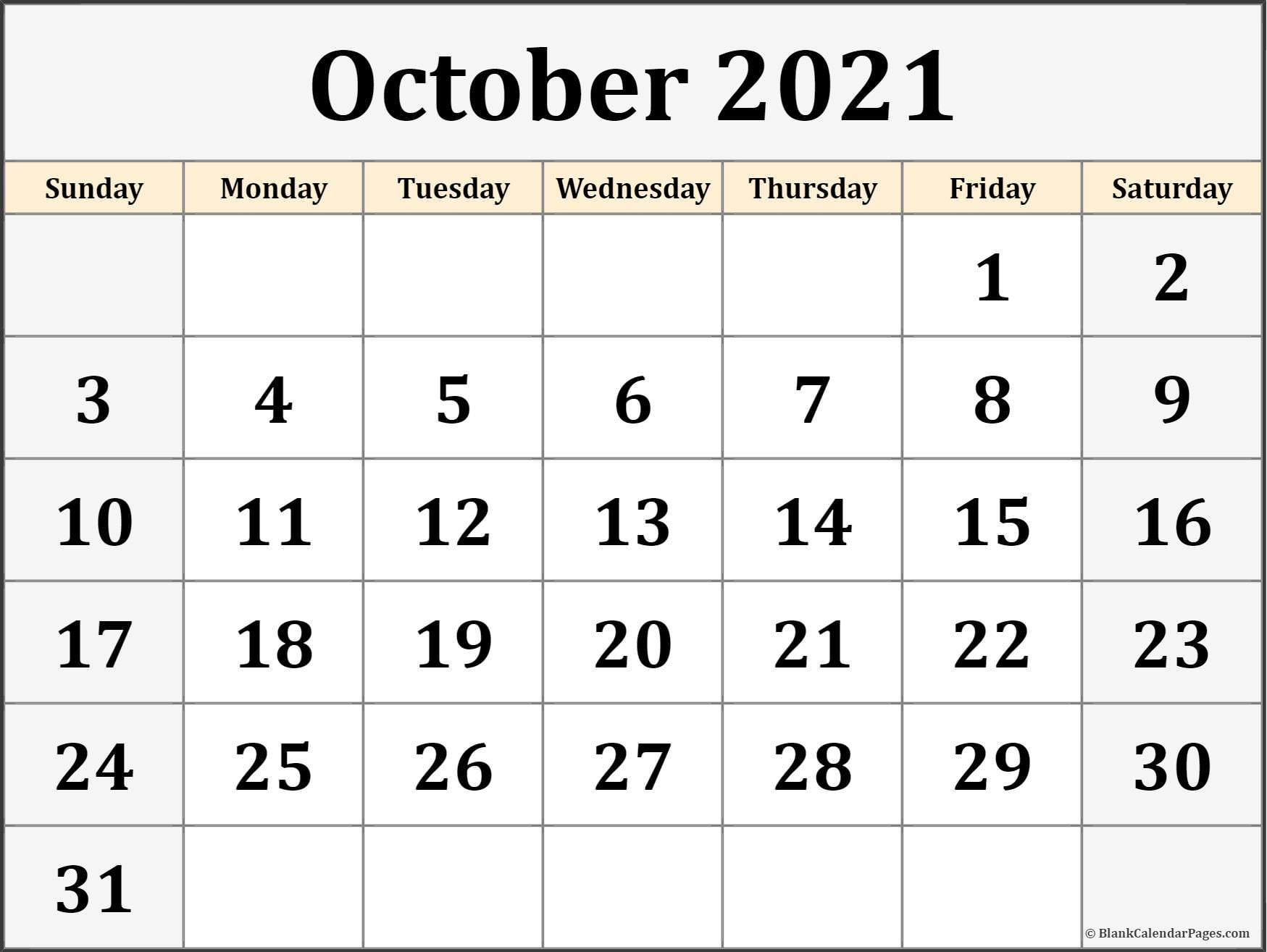 October 2020 monthly blank calendar