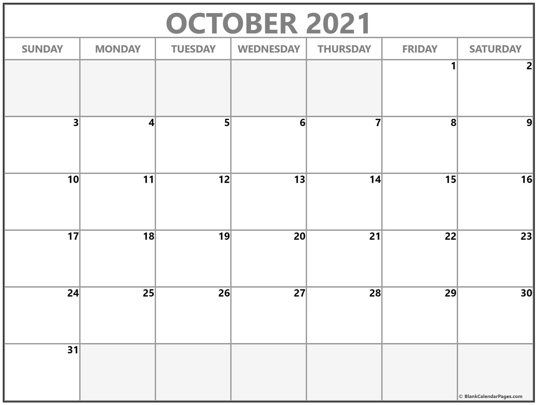 october 2019 blank calendar collection