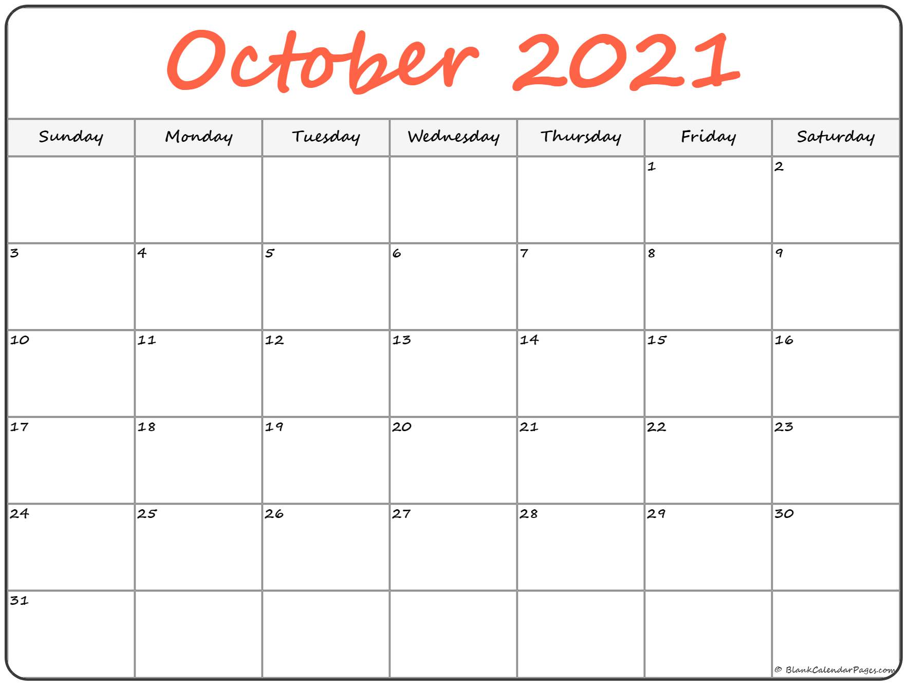 image relating to October Calendar Printable named Oct 2019 calendar cost-free printable month-to-month calendars