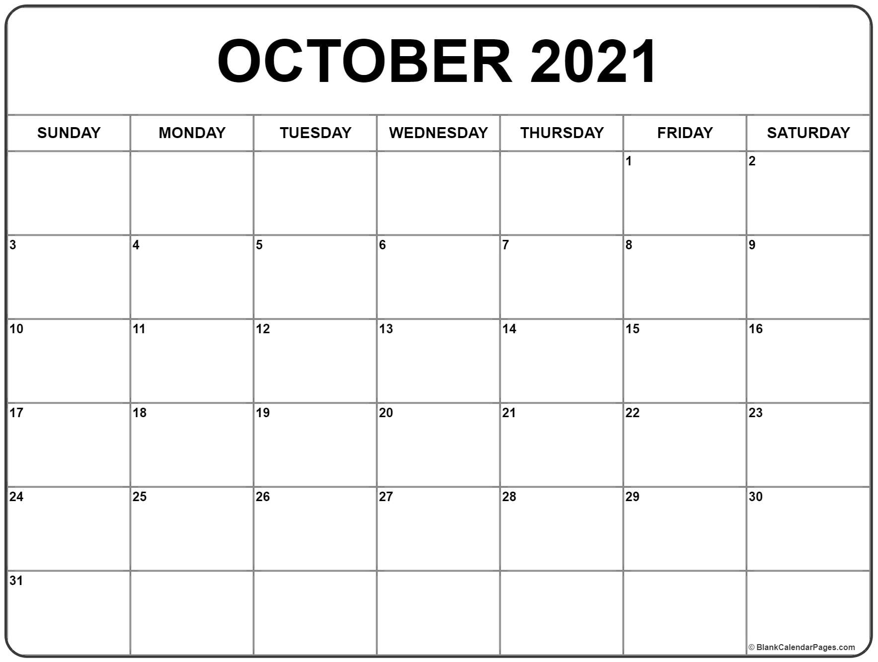 October calendar 2019 printable and free blank calendar