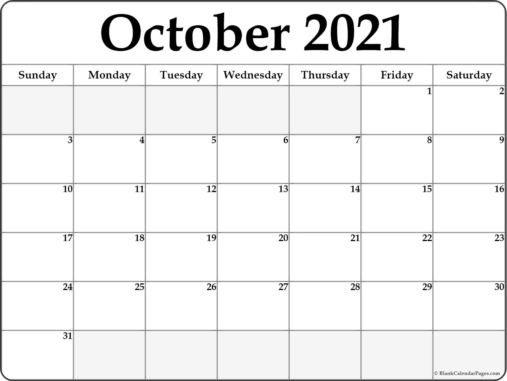 Blank October 2020 Calendar Printable October 2020 blank calendar templates.