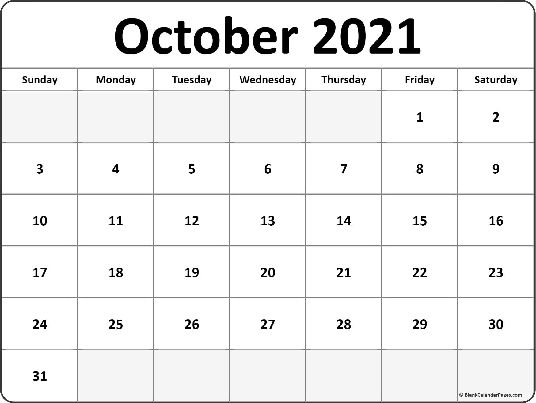 October 2021 monthly calendar printout