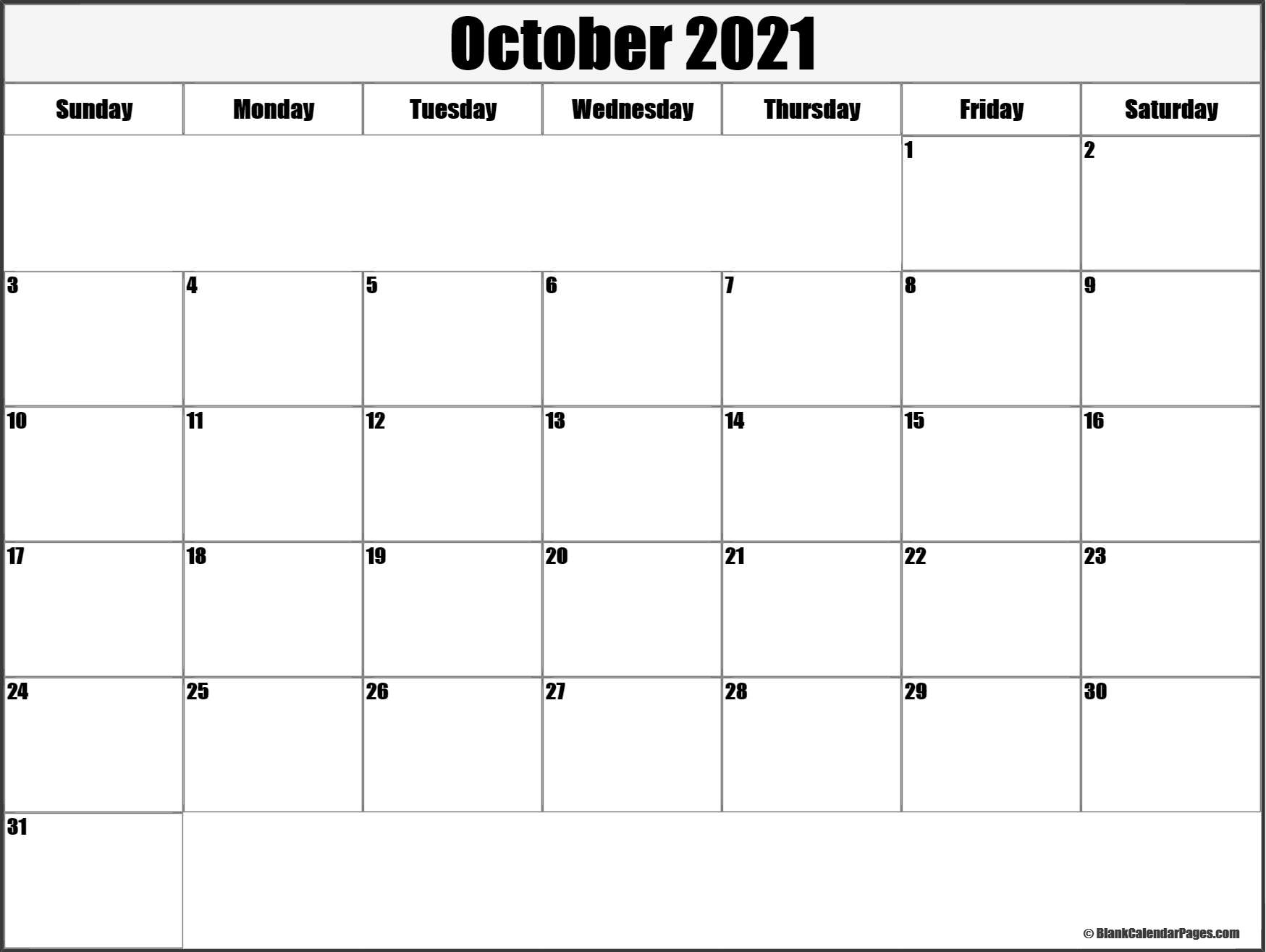 October 2021 printable calendar template
