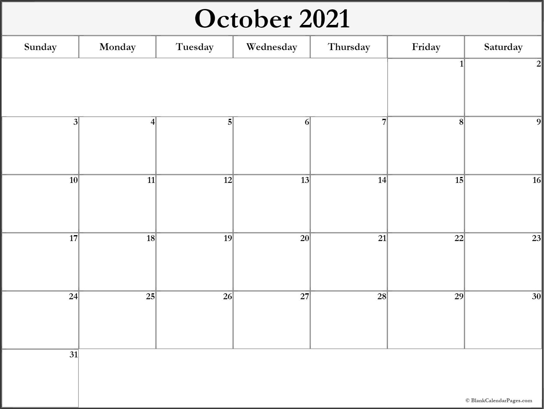 October 2018 monthly calendar printable
