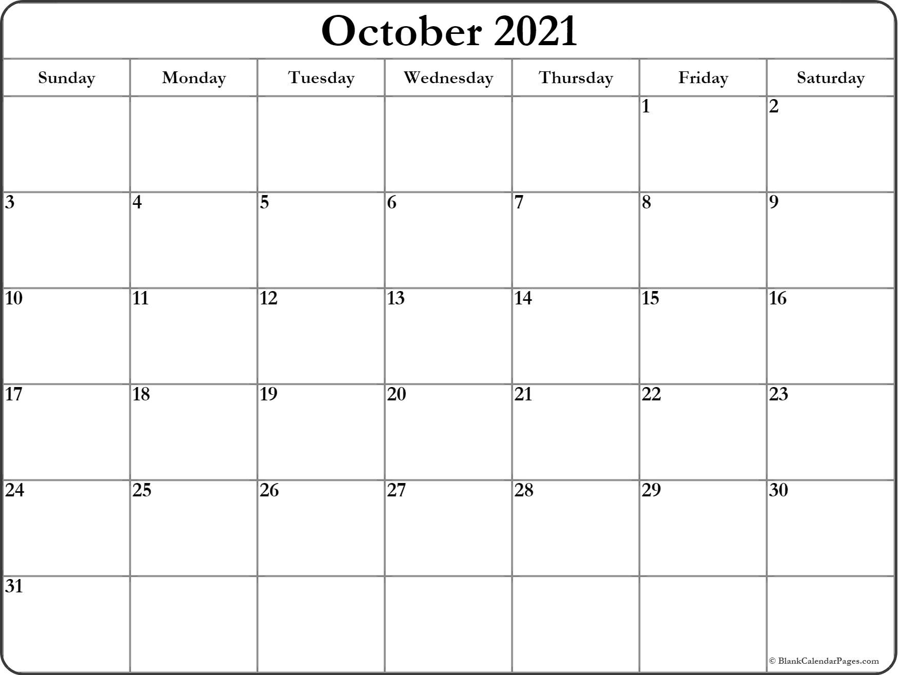 October calendar 2021 printable and free blank calendar