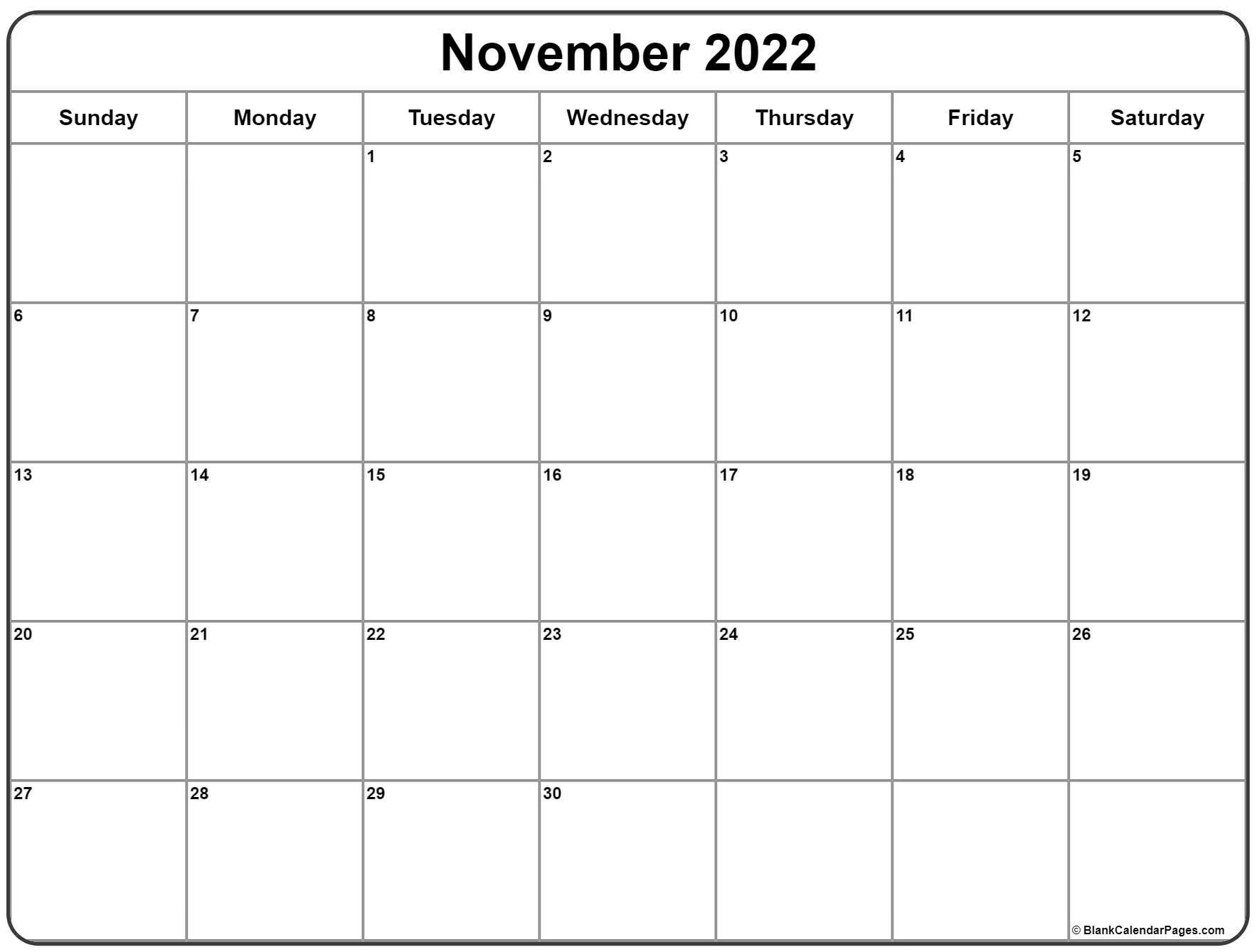 November 2022 Blank Calendar.November 2022 Calendar Free Printable Calendar Templates