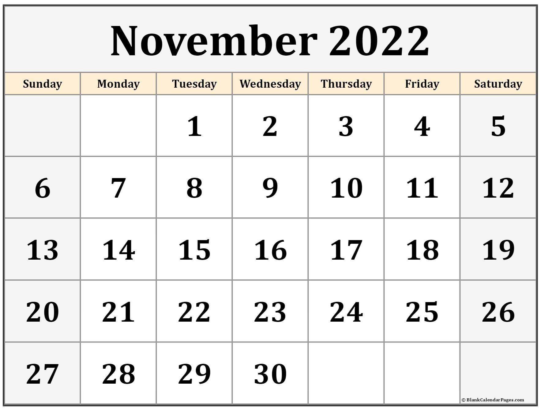 Printable Monthly Calendar November 2022.November 2022 Calendar Free Printable Calendar Templates
