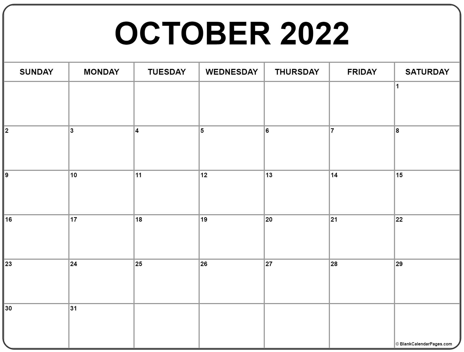 Monthly Calendar October 2022.October 2022 Calendar Free Printable Calendar Templates