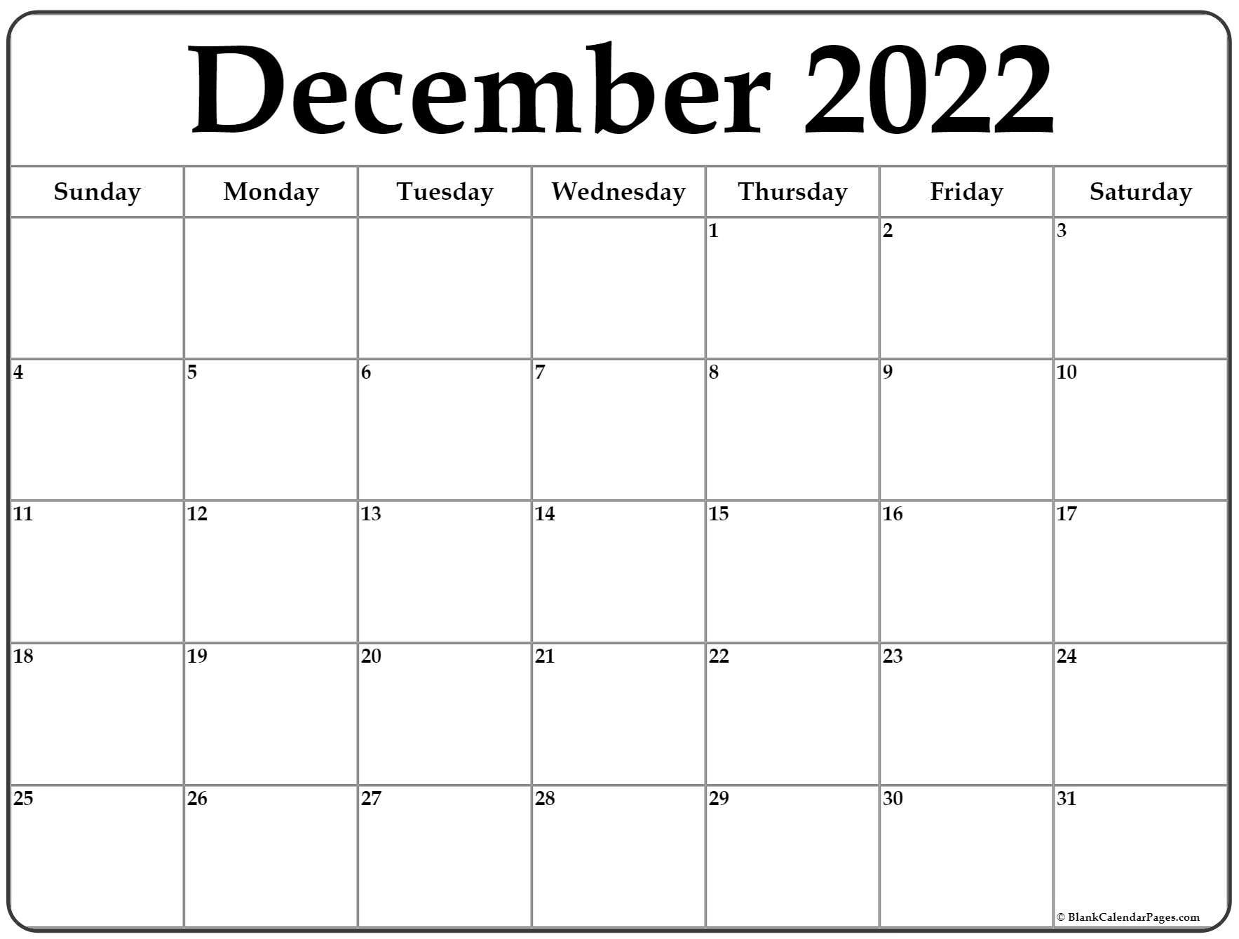 Dec Calendar 2022 Printable.December 2022 Calendar Free Printable Calendar Templates
