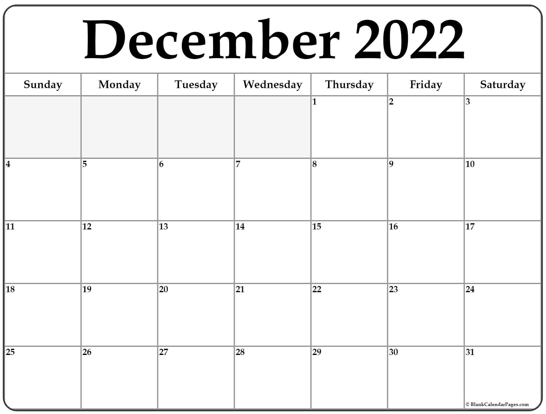 Free Printable December 2022 Calendar.December 2022 Calendar Free Printable Calendar Templates