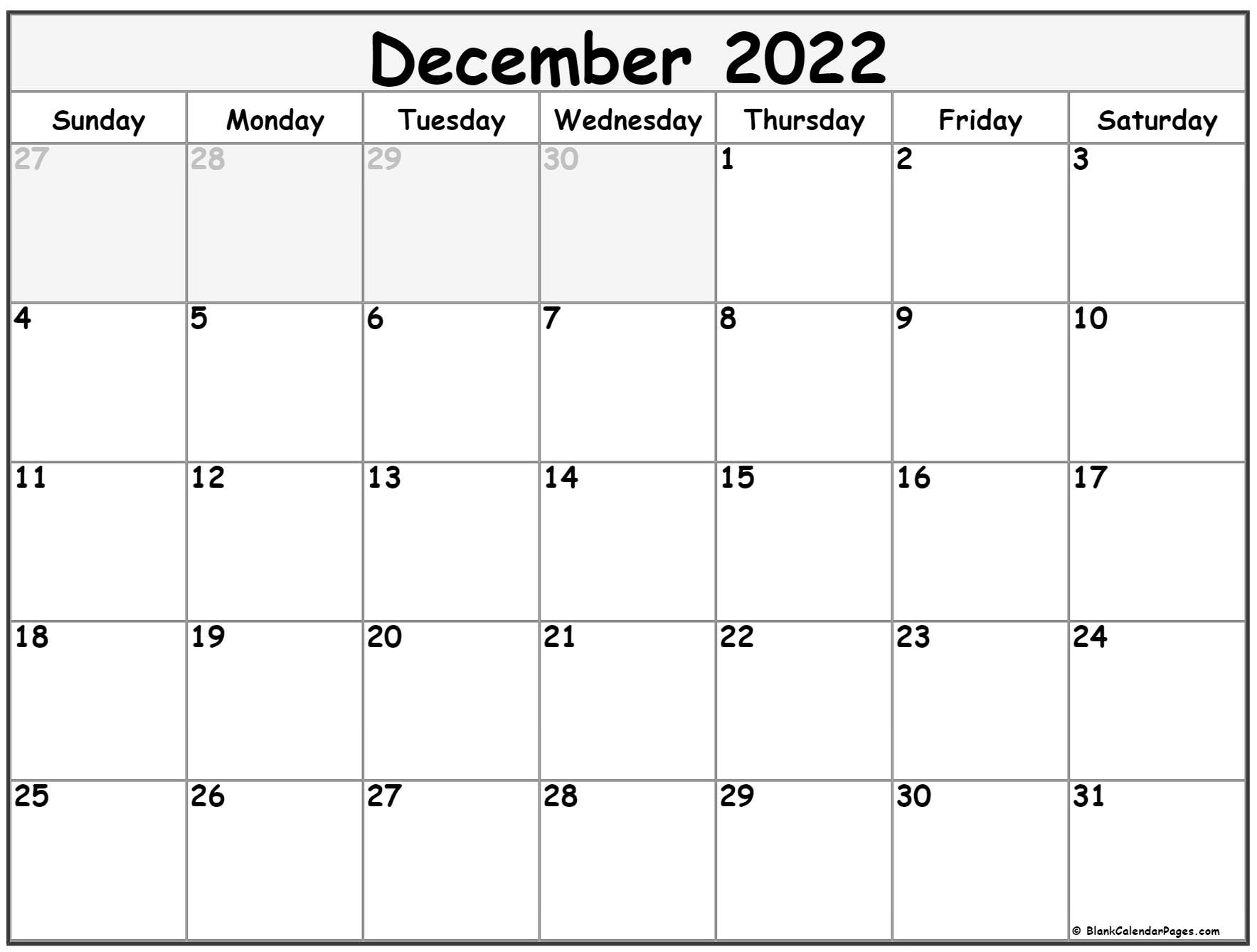 December 2022 calendar   free printable monthly calendars