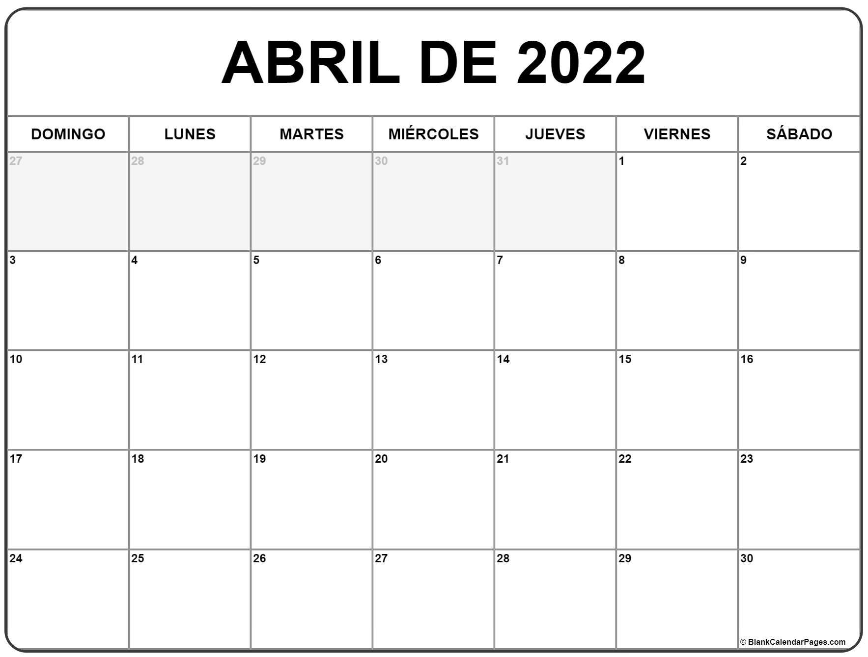 abril de 2022 calendrario
