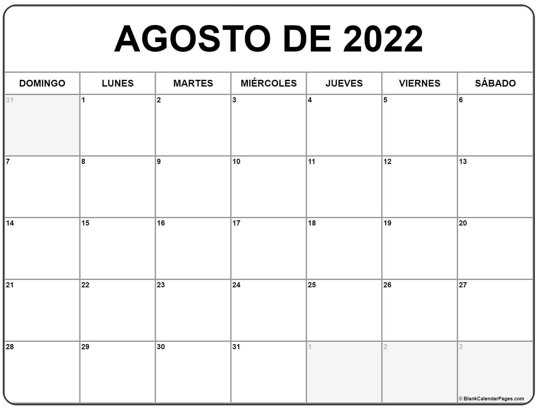 agosto de 2022 calendario gratis