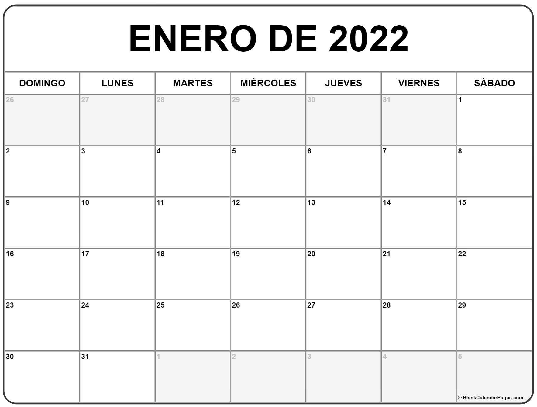enero de 2022 calendrario