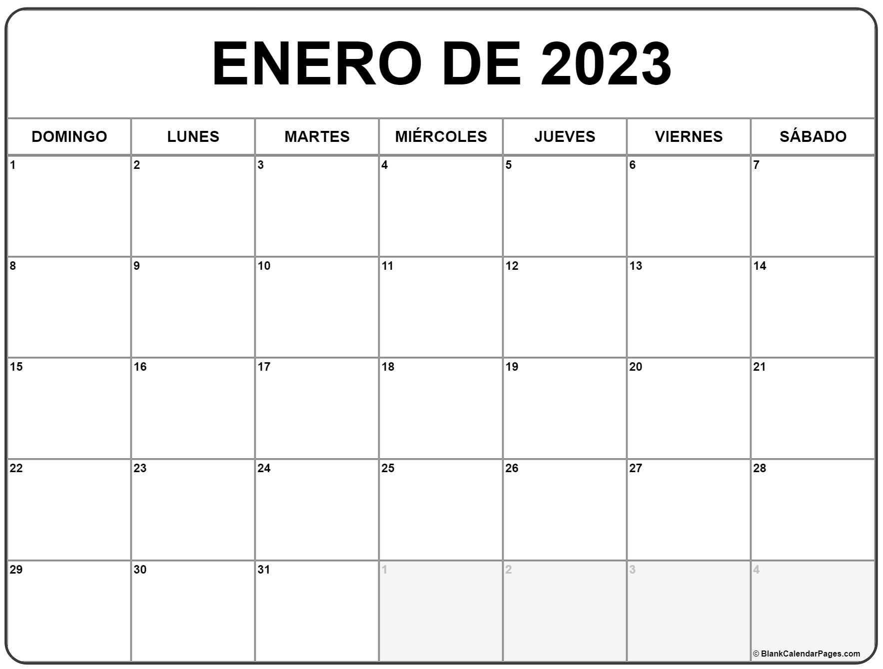 enero de 2023 calendrario