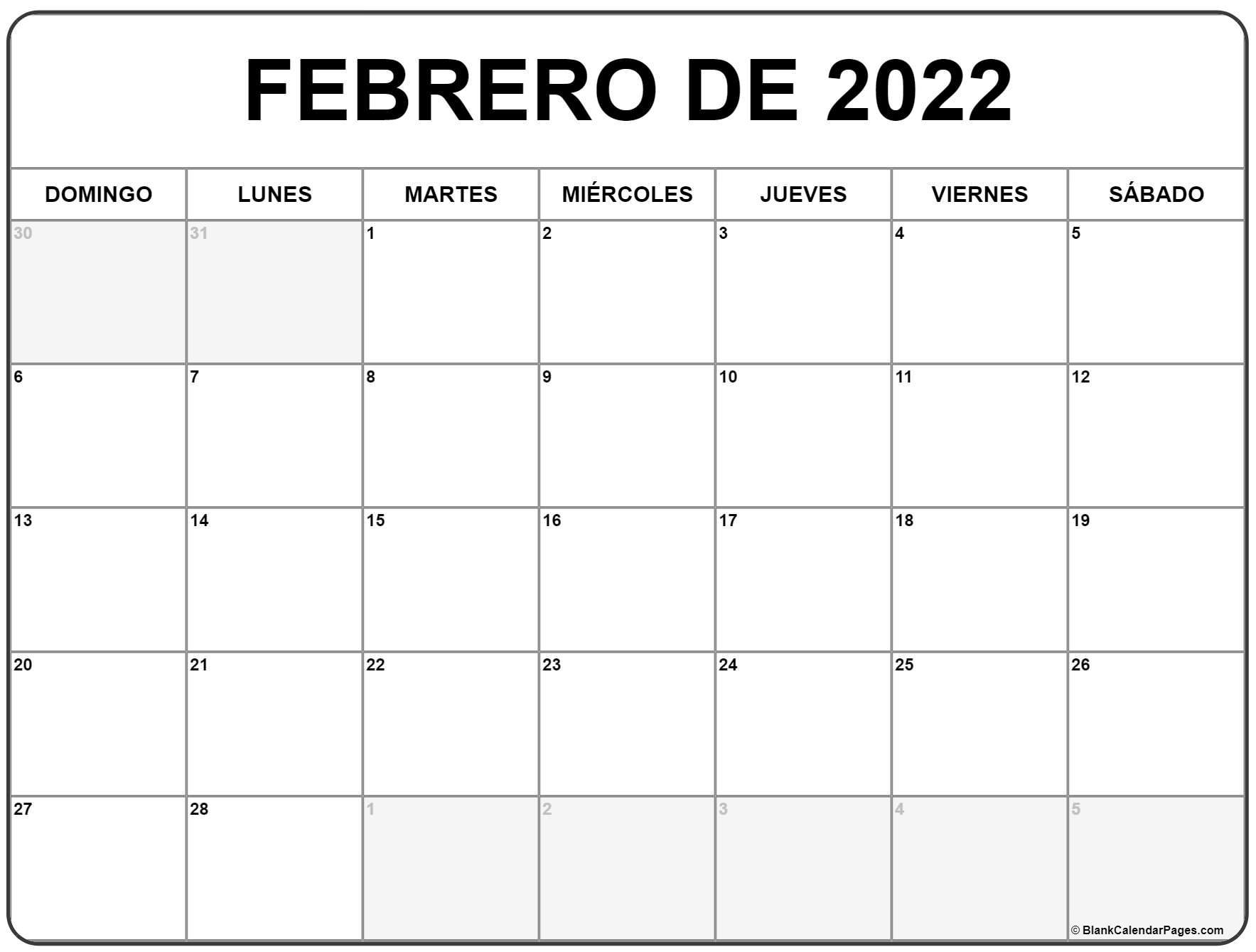 febrero de 2022 calendario gratis