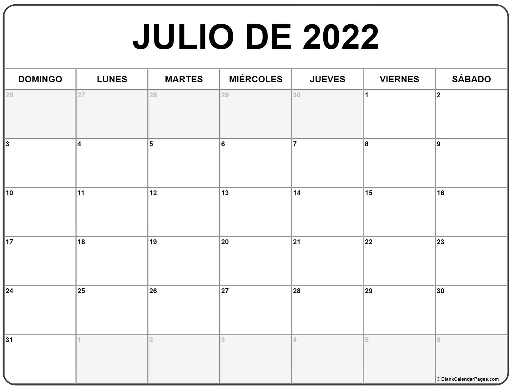 julio de 2022 calendrario