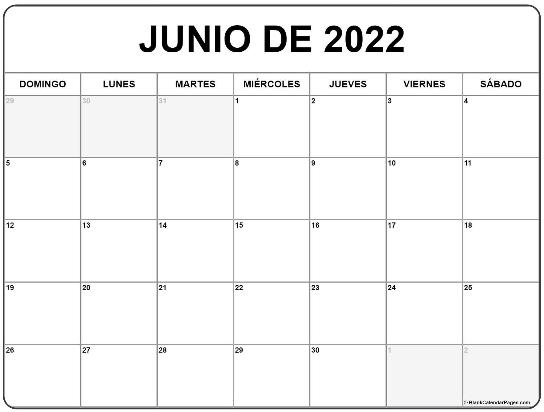 junio de 2022 calendrario