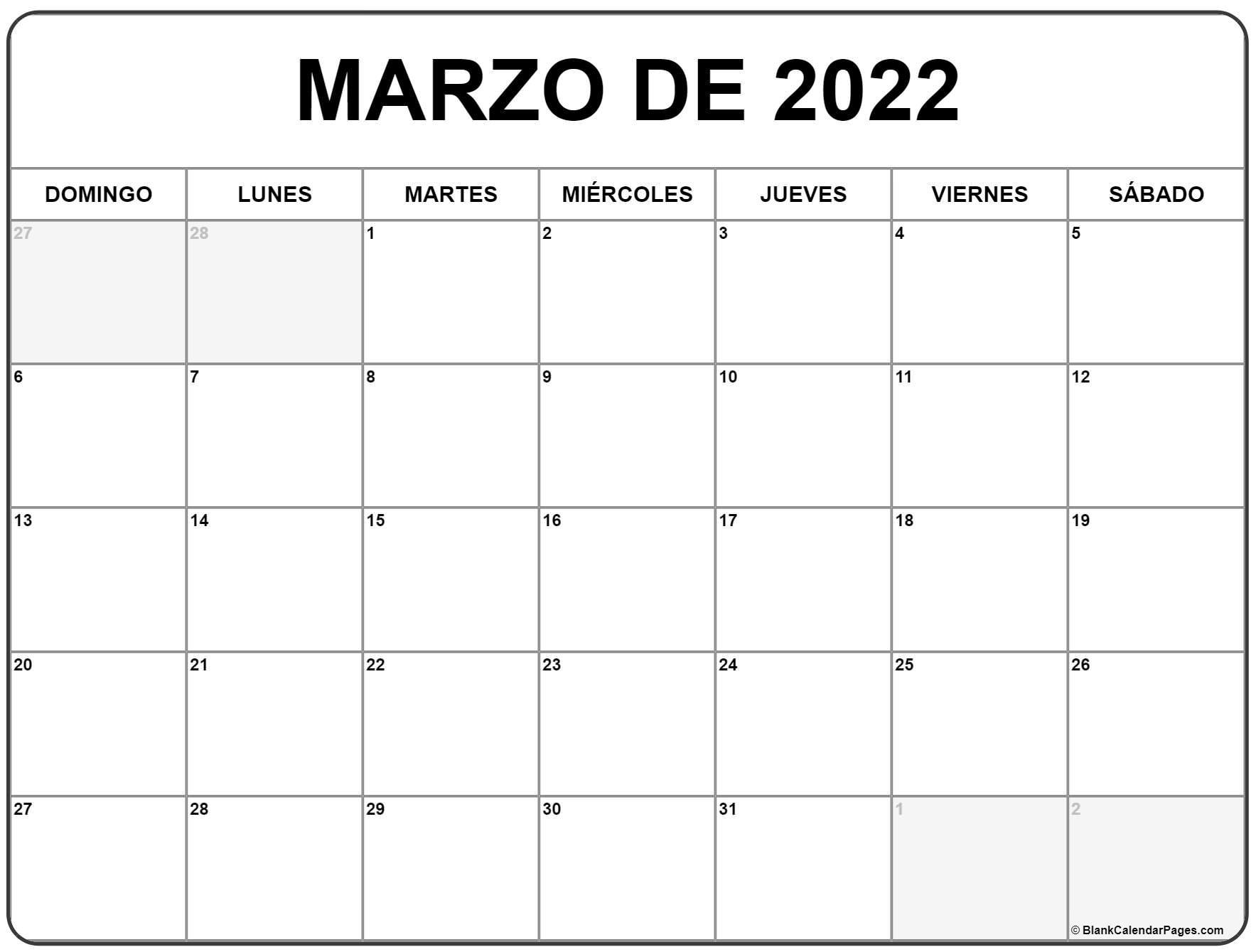 marzo de 2022 calendario gratis